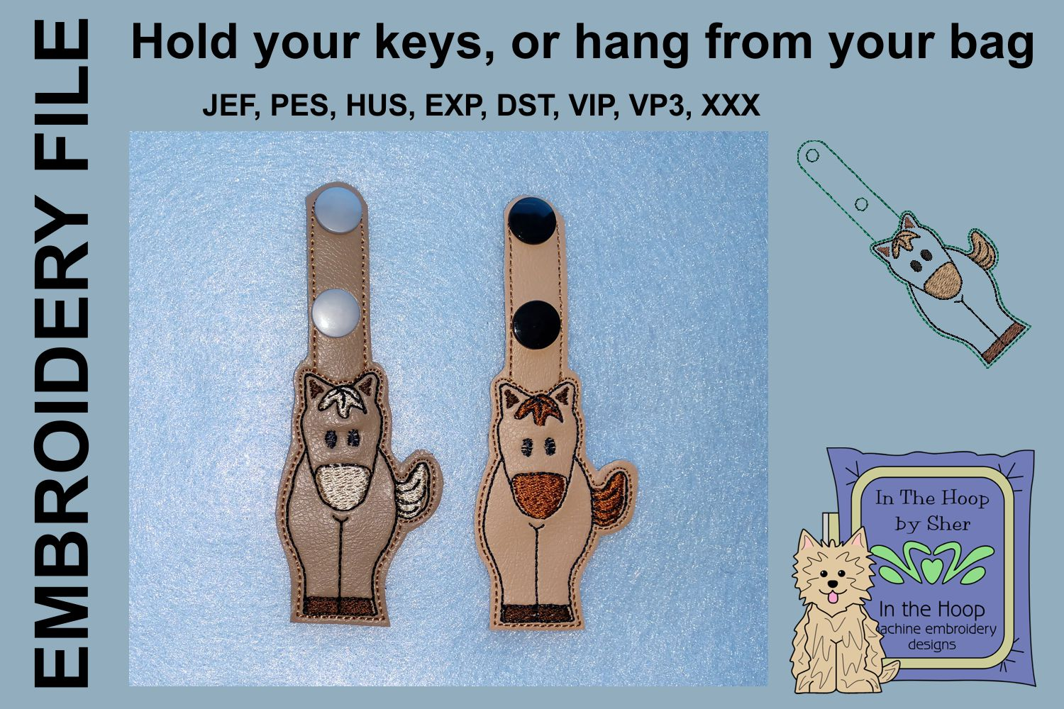 ITH Little Horse Key Fob - Embroidery Design example image 2