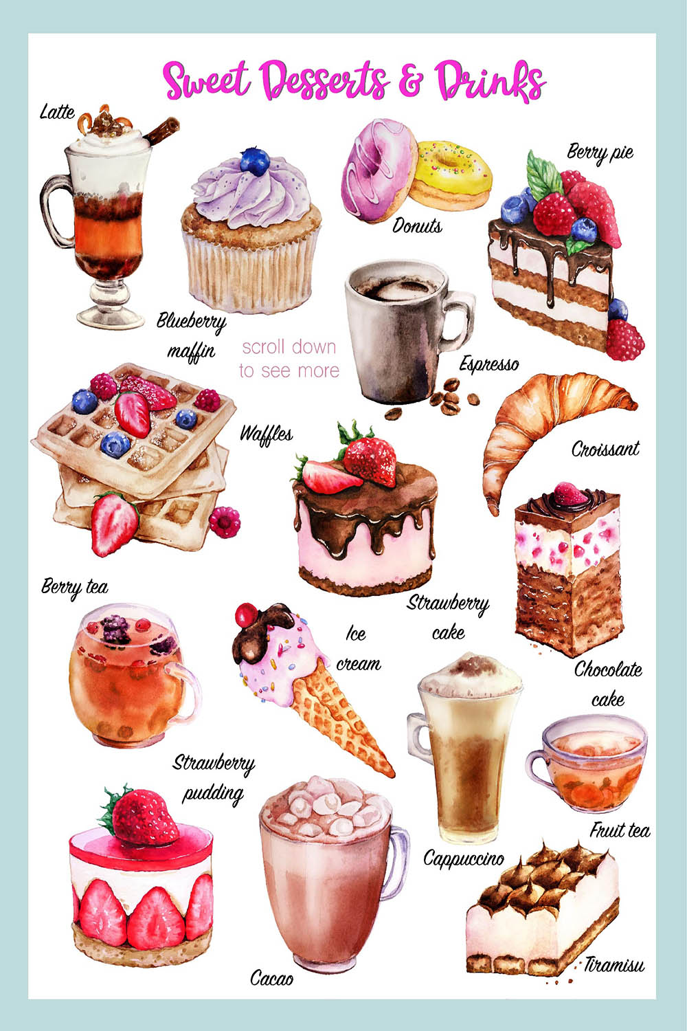 Sweet desserts - watercolor illustrations cakes and coffee example image 2