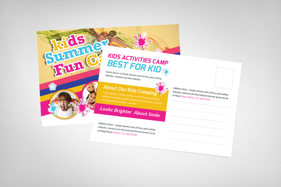 Kids Summer Camp Postcard Template example image 2