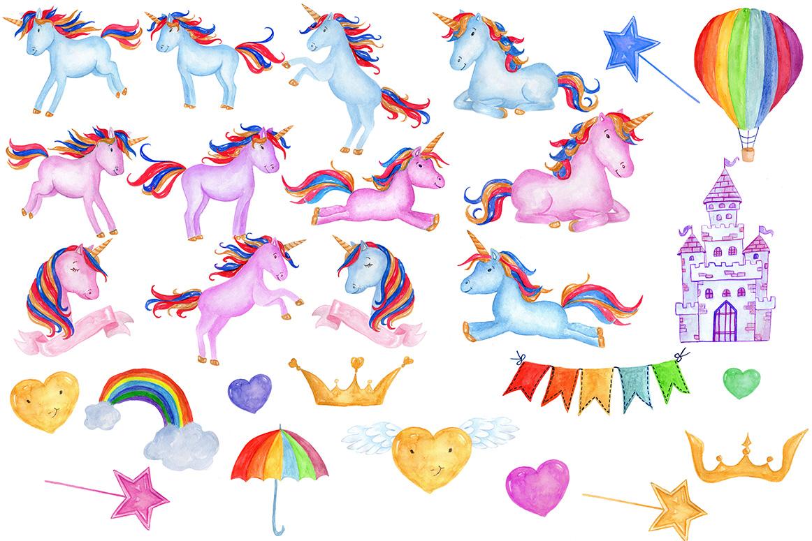 Watercolour Unicorns Clip Art example image 2