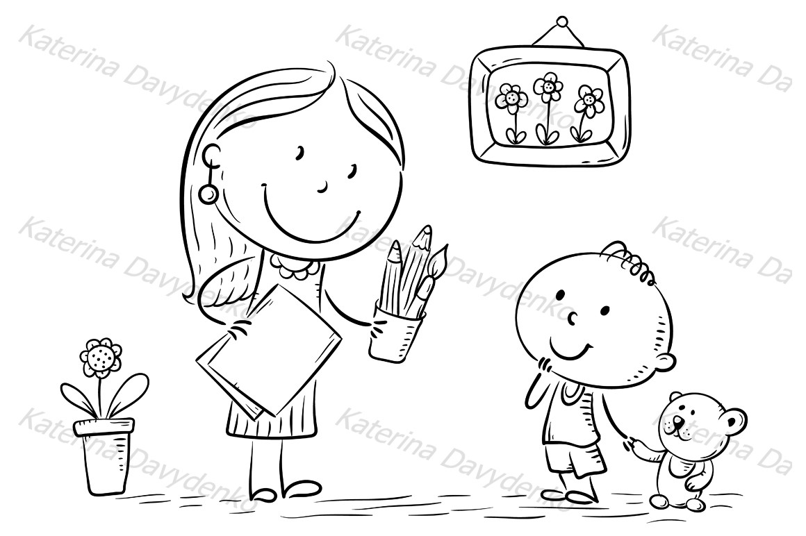 Teacher or mother encouraging the kid to draw example image 2