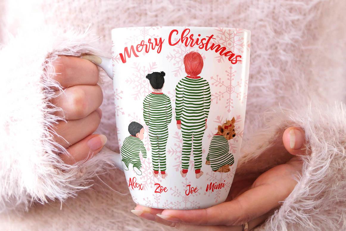 Christmas family clipart, Matching pajamas, Christmas Tree example image 2