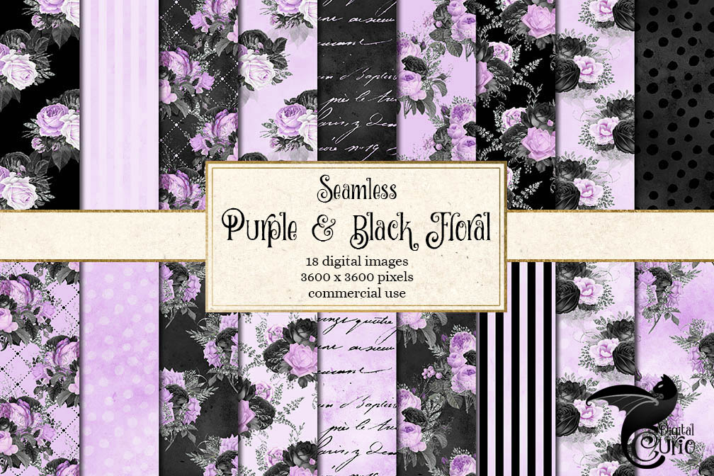 Black Purple and Silver Digital Paper example image 1
