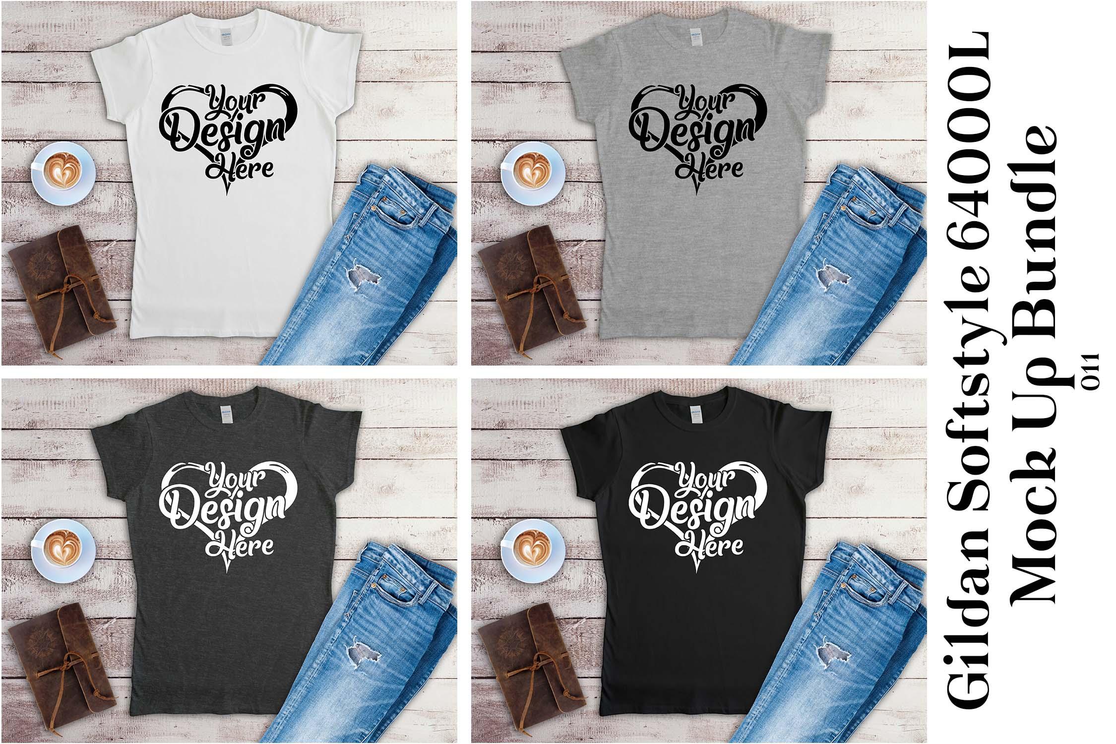Gildan Ladies T-Shirt Mockup Mega Bundle Flat Lay 64000L example image 8