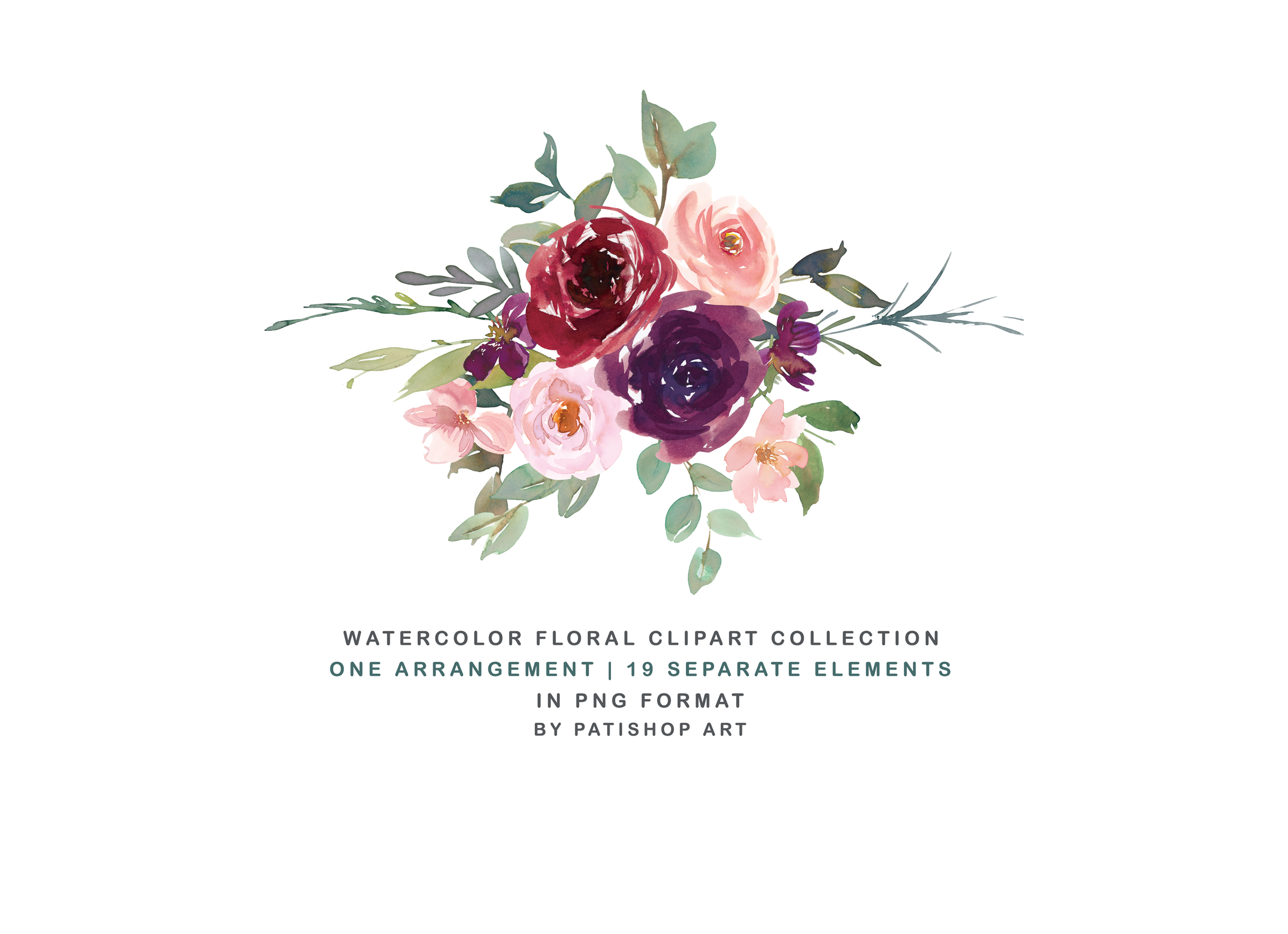Burgundy Purple and Blush Watercolor Floral Clipart Set example image 6