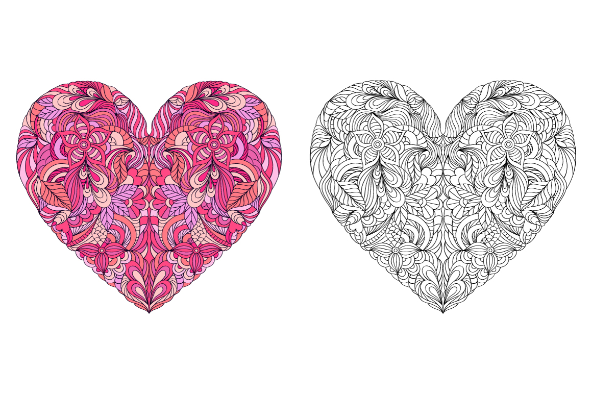 Floral Valentine's hearts example image 3