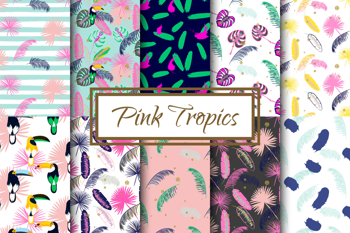 Pink Tropics seamless patterns example image 1