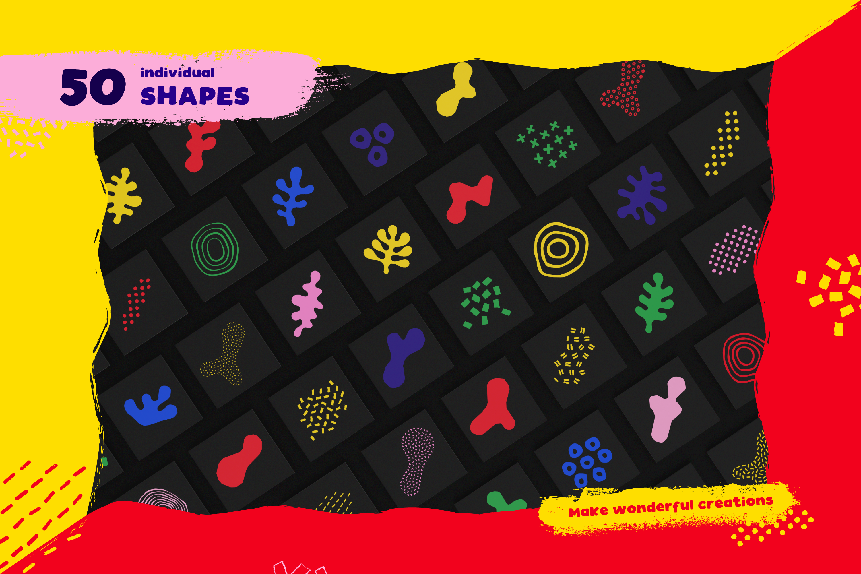 100 Hand-drawn seamless patterns and shapes collection example image 2
