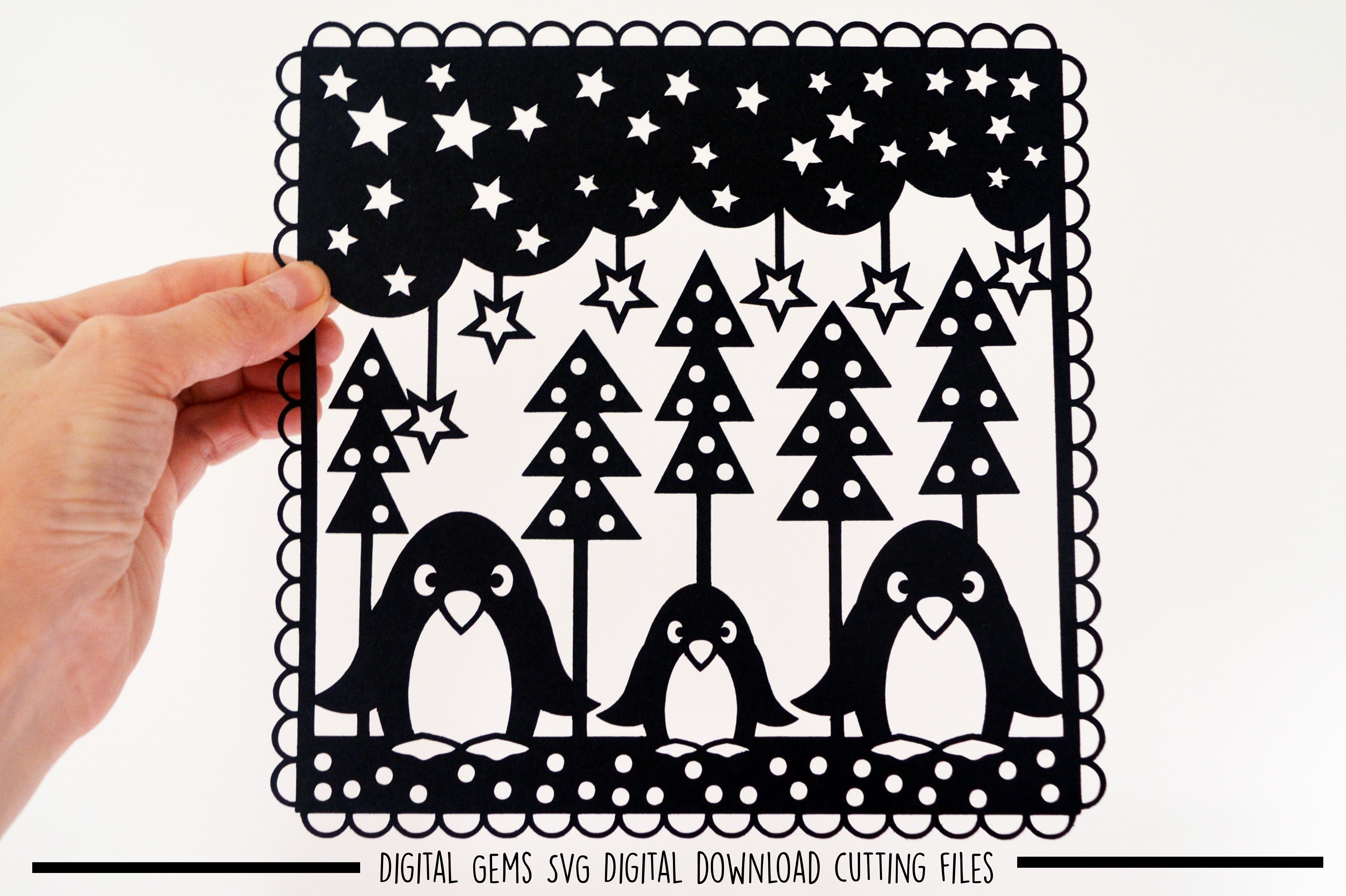 Penguin paper cut SVG / DXF / EPS files example image 1