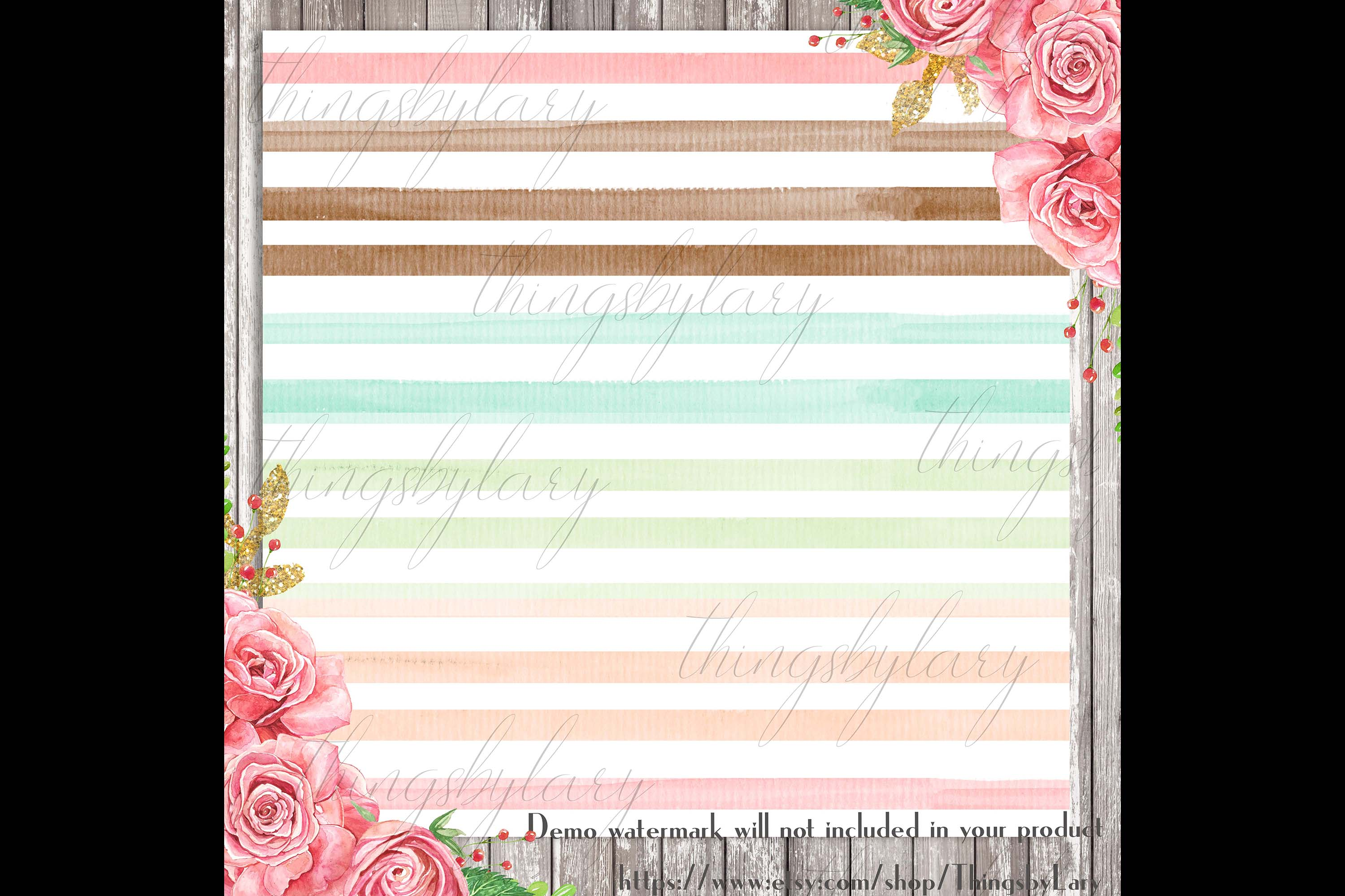 16 Seamless Watercolor Pastel Rainbow Ombre Stripes Papers example image 2