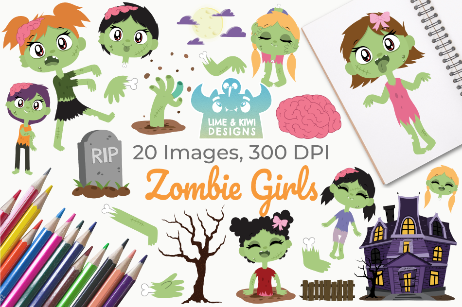 Zombie Girls Clipart, Instant Download Vector Art example image 1