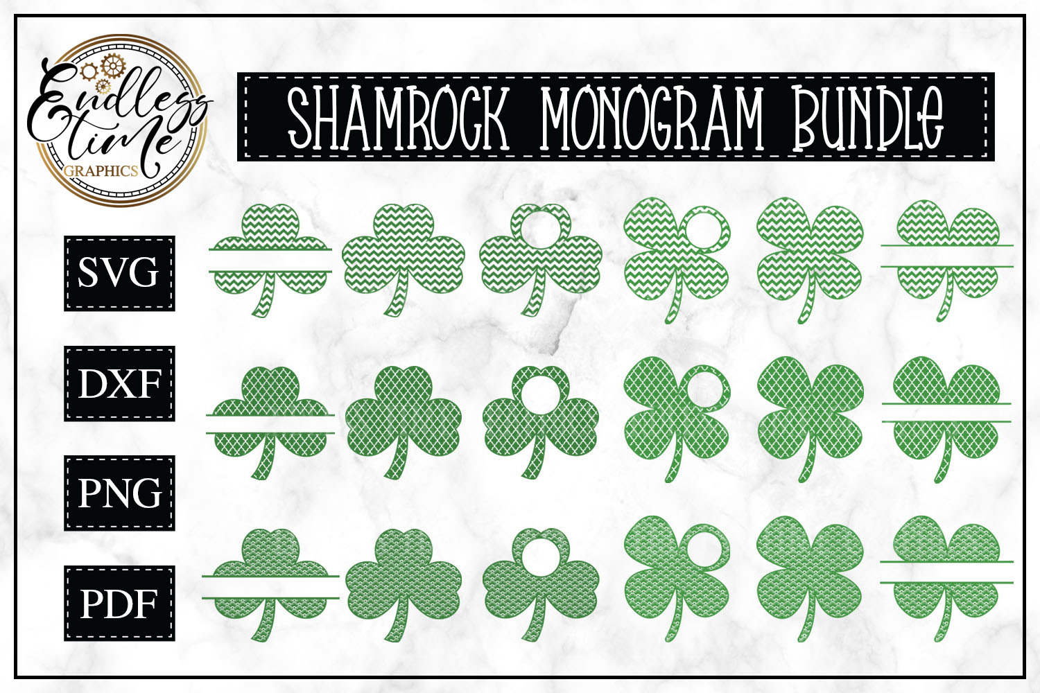 Shamrock and Clover Monogram Frame SVG Bundle example image 1