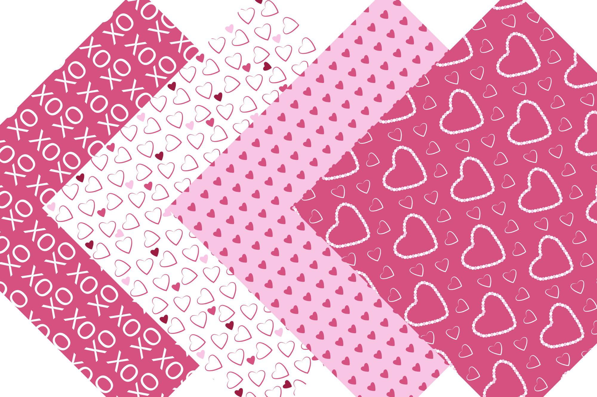 Hearts Digital Paper - Pink and Red Valentine Background Patterns example image 4