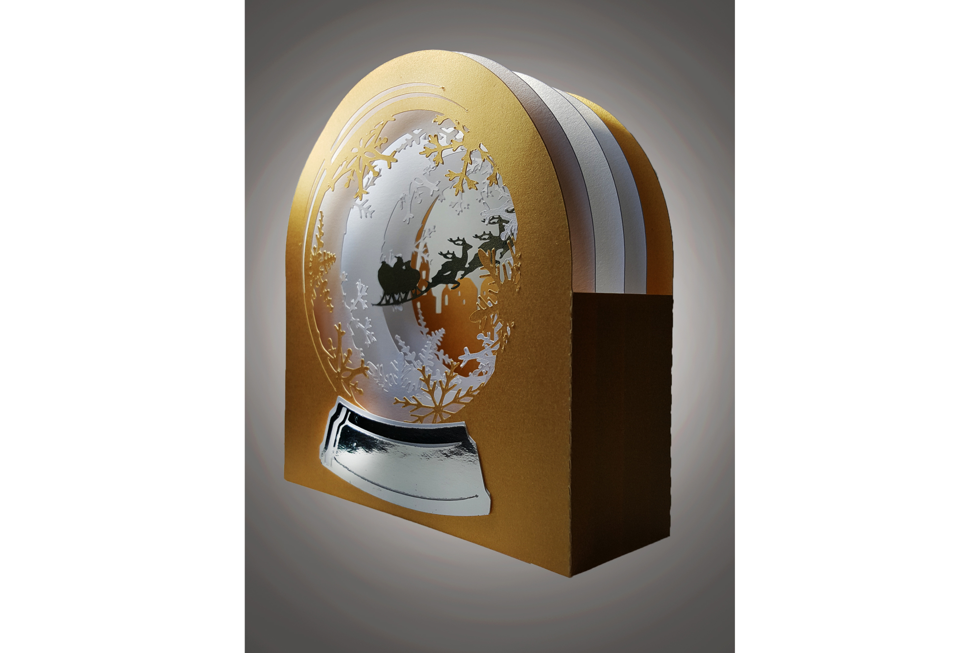 3D Snow Globe Snowy Village greetings card example image 2