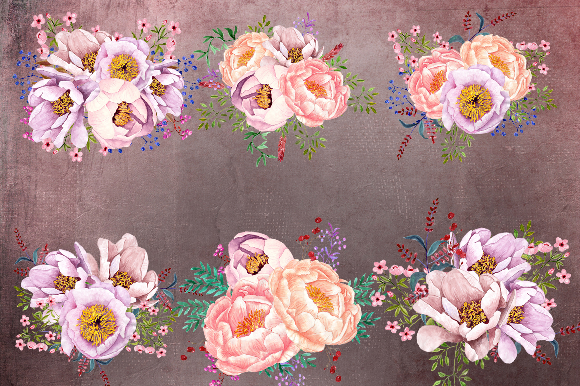 Tea time watercolor floral clipart example image 2