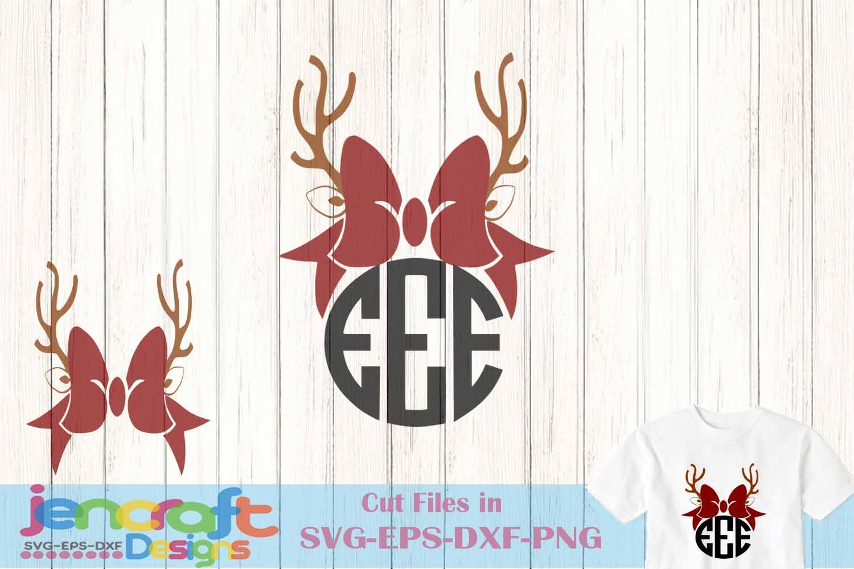 Antlers Bow monogram frame Deer SVG - Christmas SVG example image 1