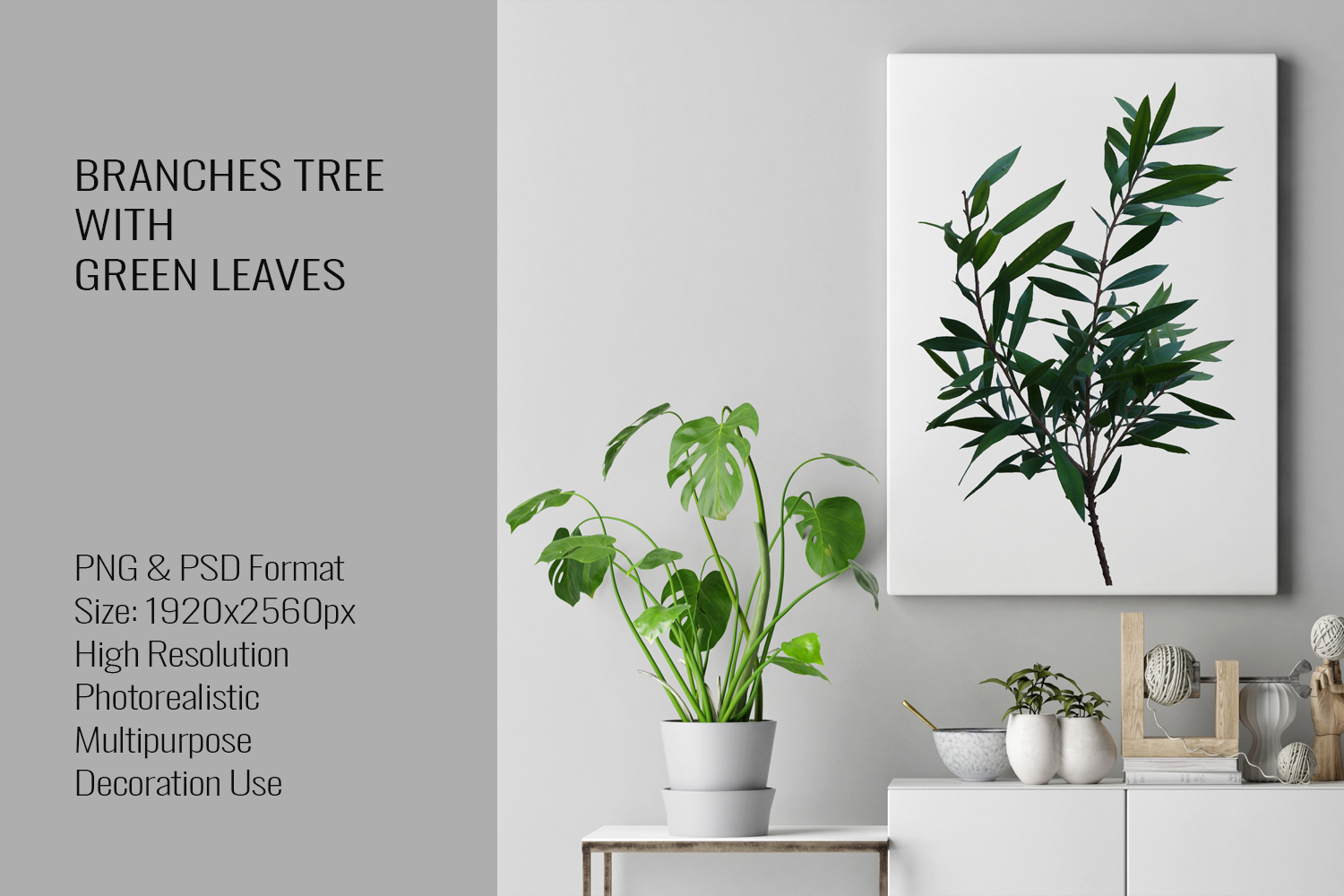Three Branches Tree With Green Leaves PNG|PSD example image 3