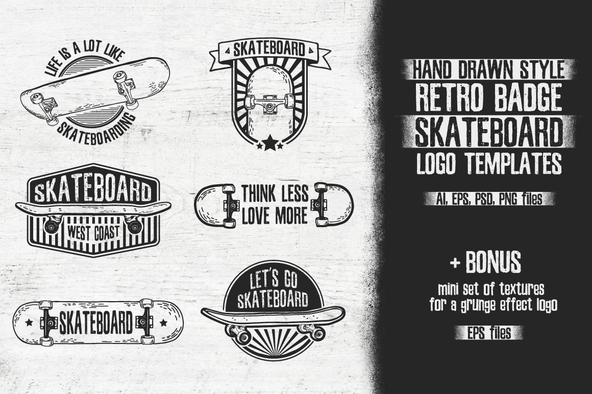 Retro skateboard | Template logo set example image 1