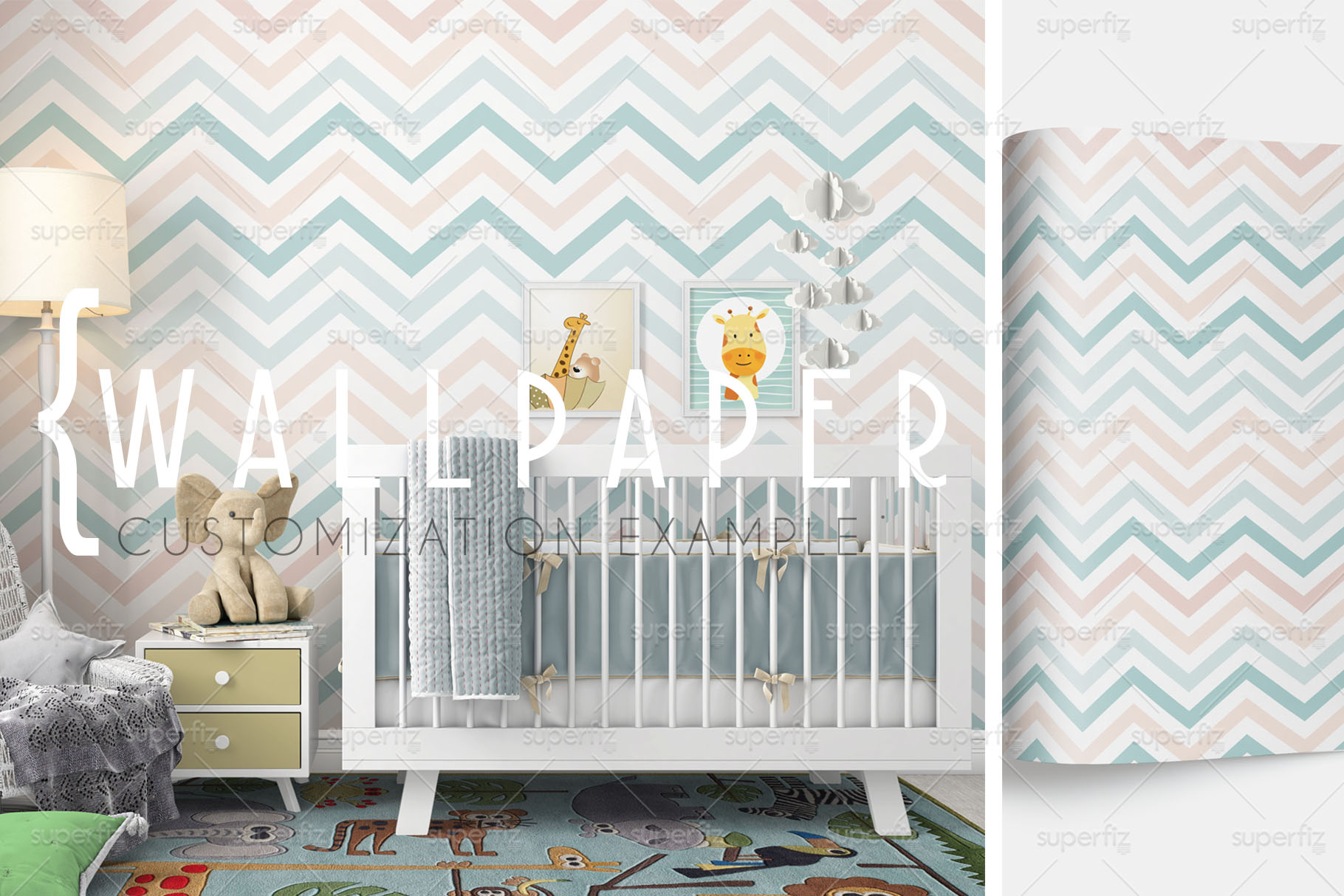 Wallpaper, floor, carpet and frame Mockup Baby Bedroom SM60 example image 6