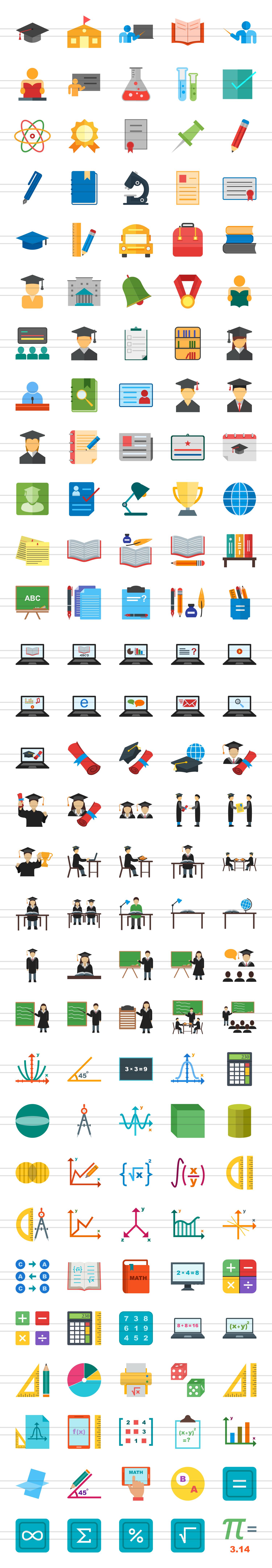 150 Academics Flat Icons example image 3