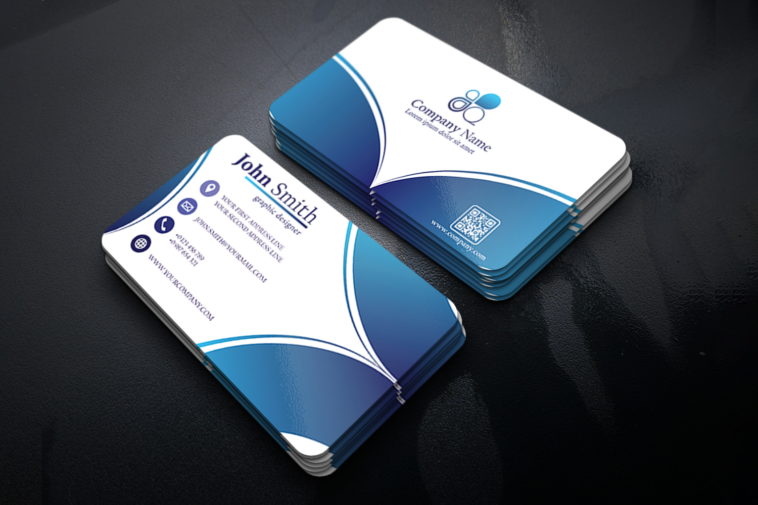 Abstract Business Card Design with 2 different colors example image 4