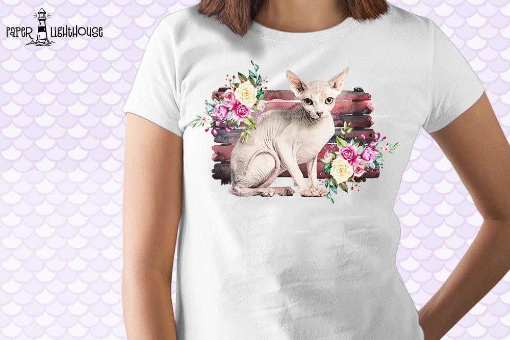 Sphynx Cat Sublimation Desing - Printable T-shirt Design example image 2