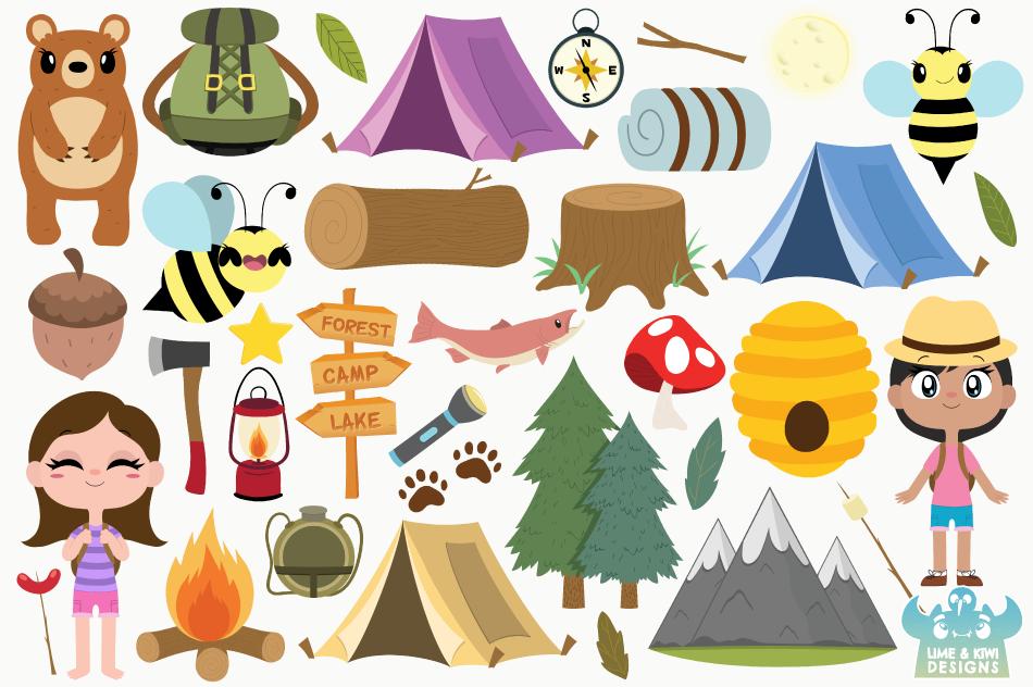 Camping Girls Clipart, Instant Download Vector Art example image 2