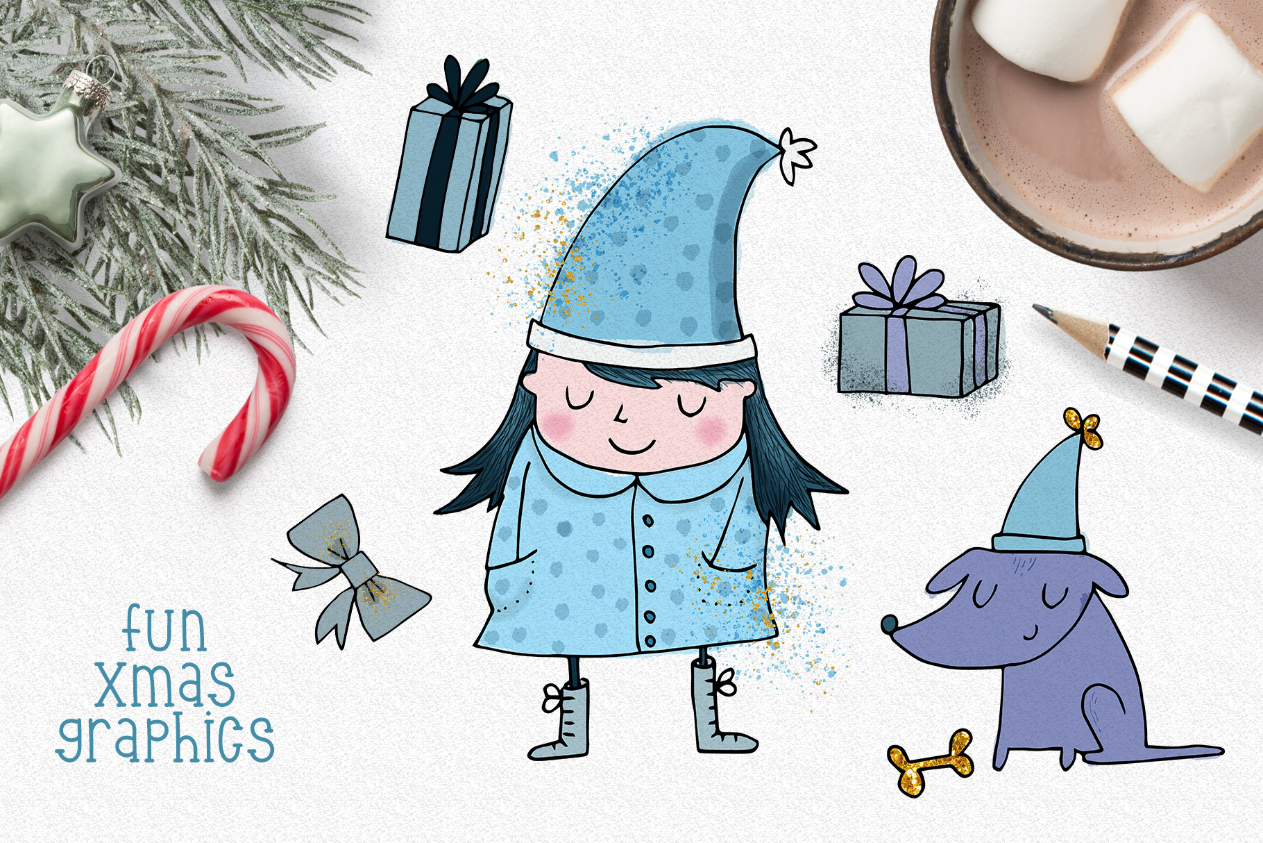 Christmas Clipart and Pattern Bundle example image 2