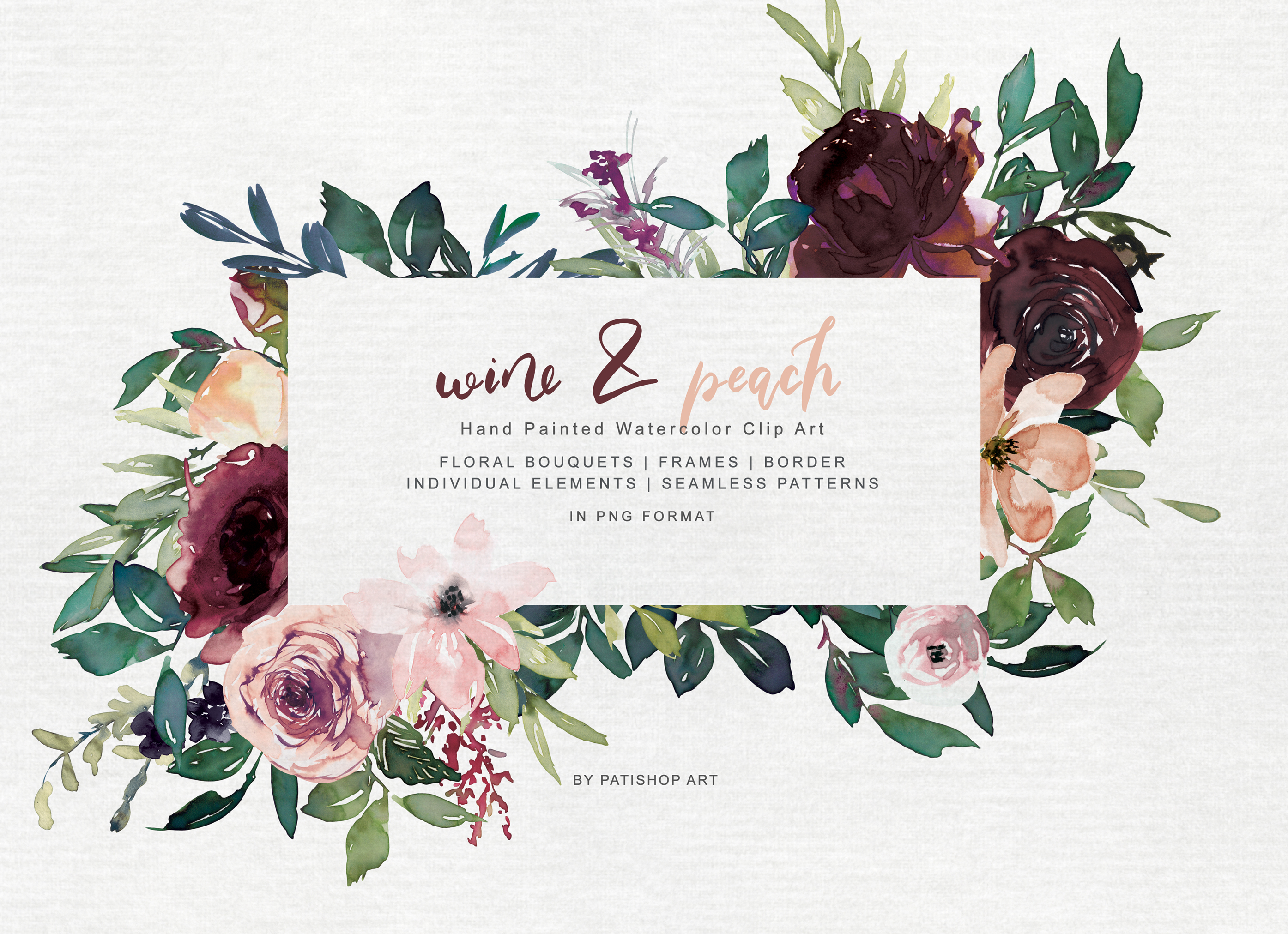 Wine and Peach Floral Bouquet Clipart example image 3