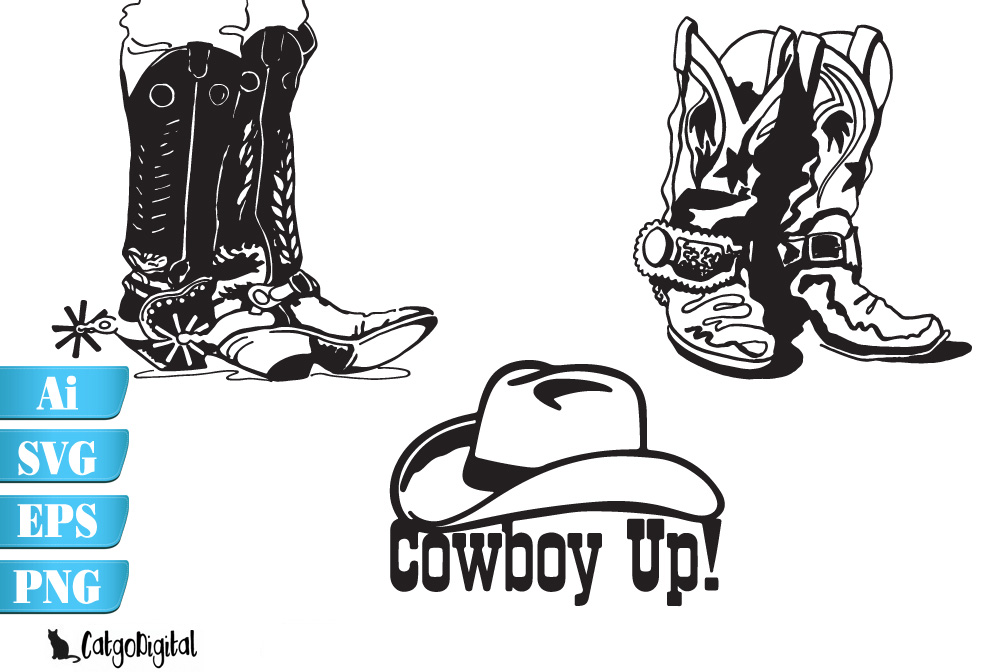 Cowboy Boots and Hat SVG EPS Ai PNG example image 2