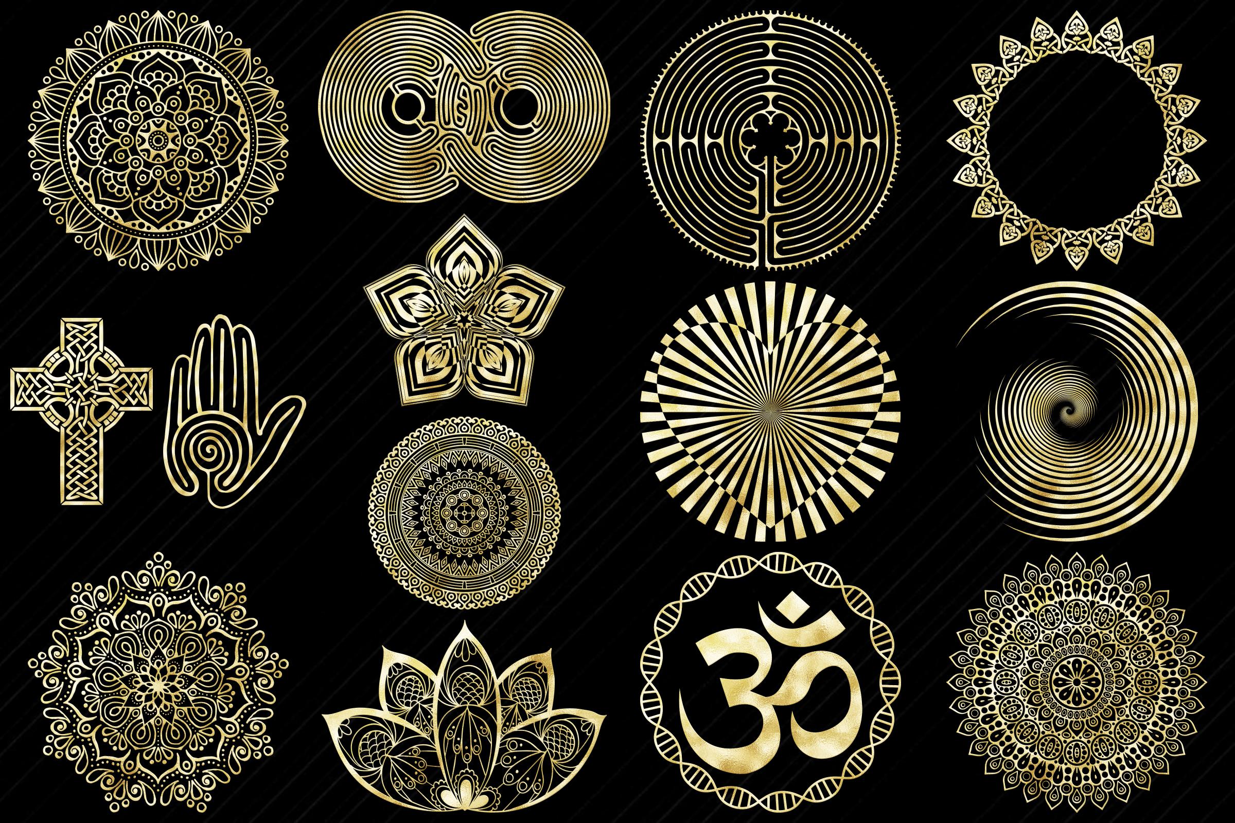 Gold Foil Labyrinth, Mandalas & Celtic Symbols Clip Art example image 3