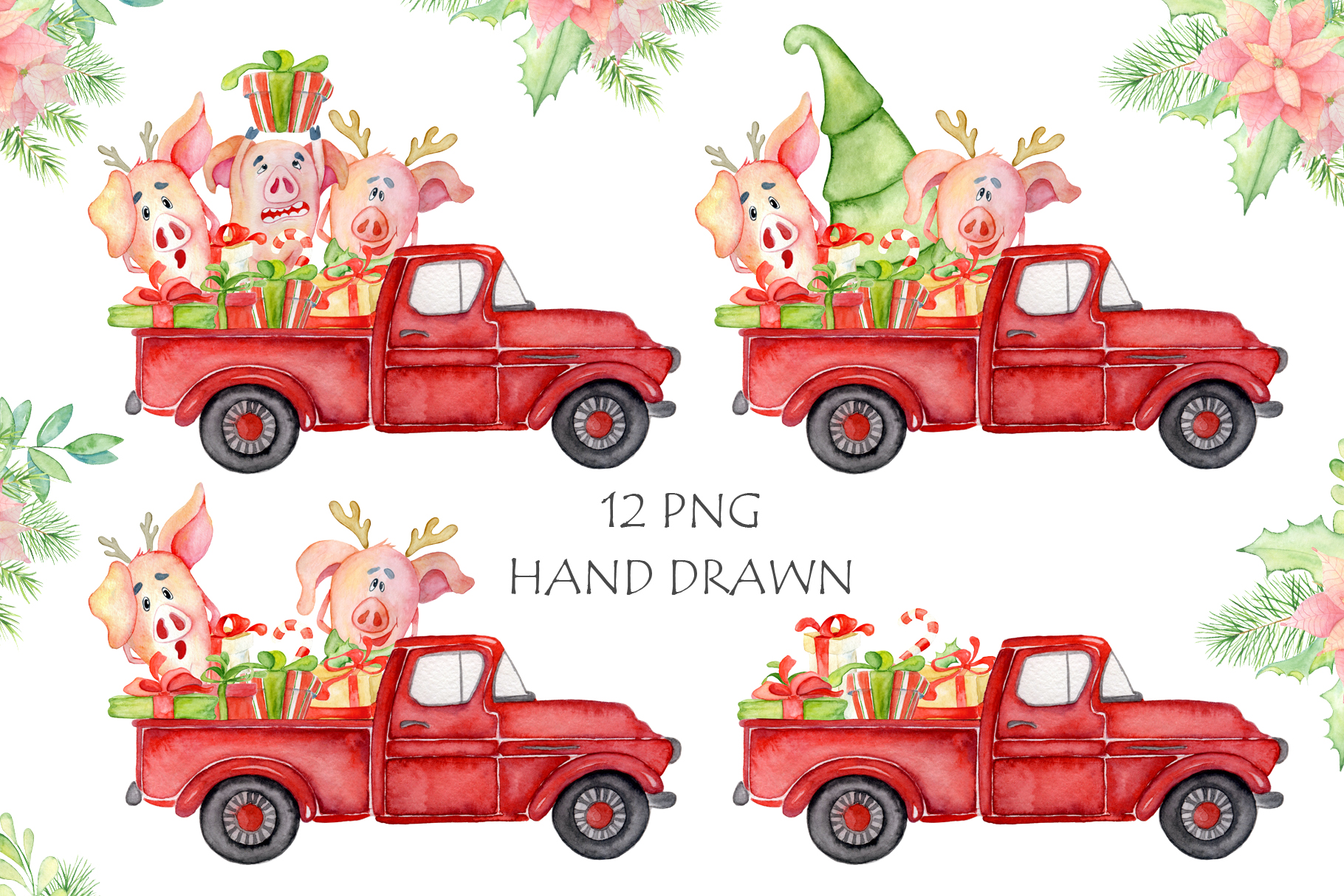 Christmas truck with xmas trees, sants and cute pigs example image 4