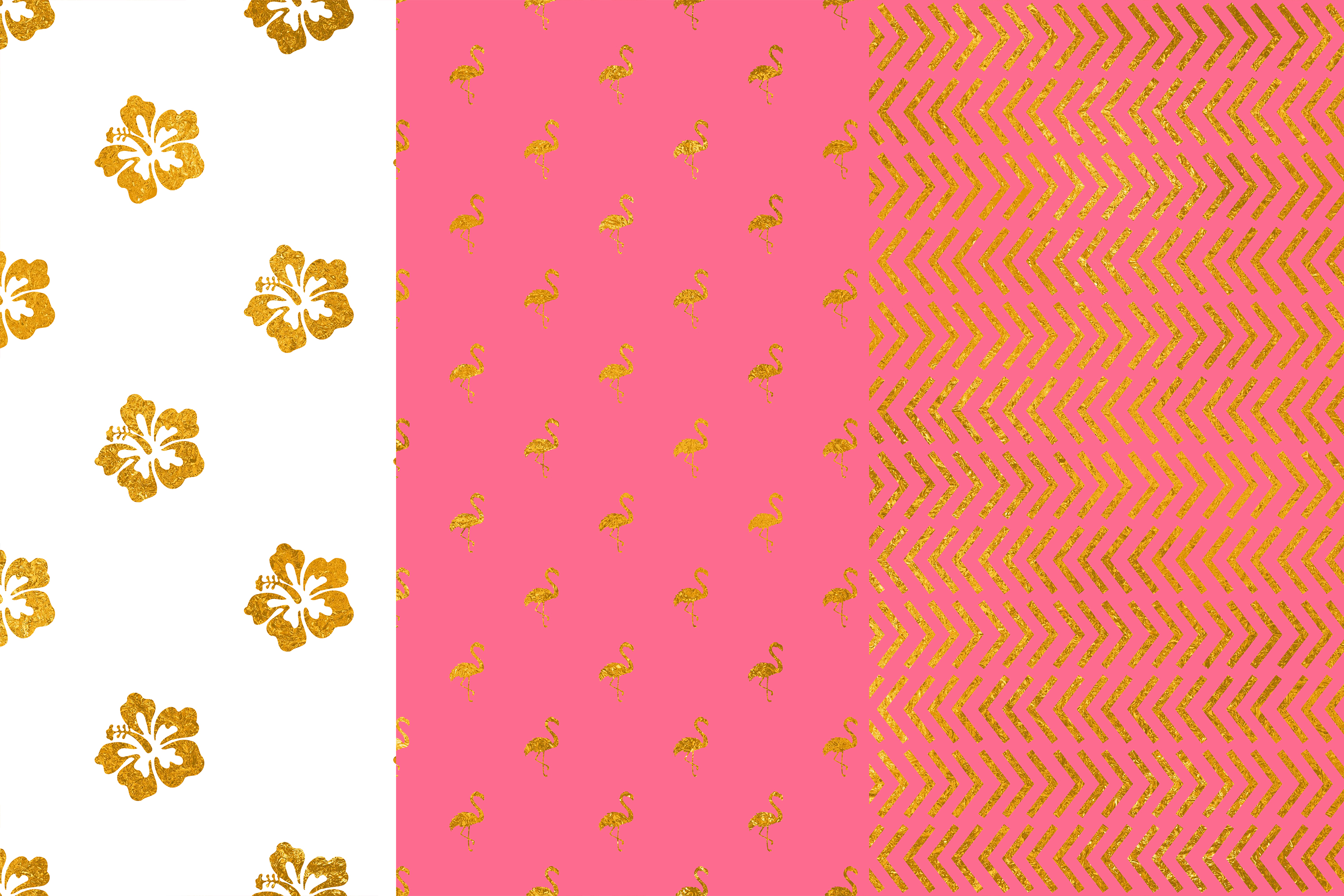 Tropical Gold Pink Digital Papers example image 2