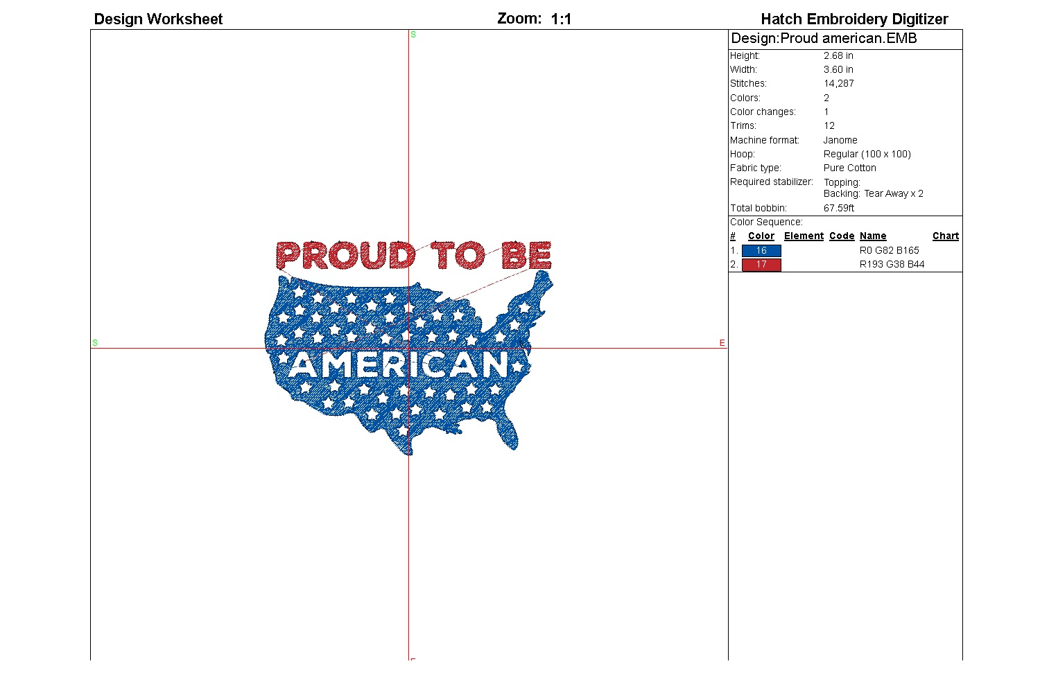 Proud American| Independence day | Machine embroidery| example image 2
