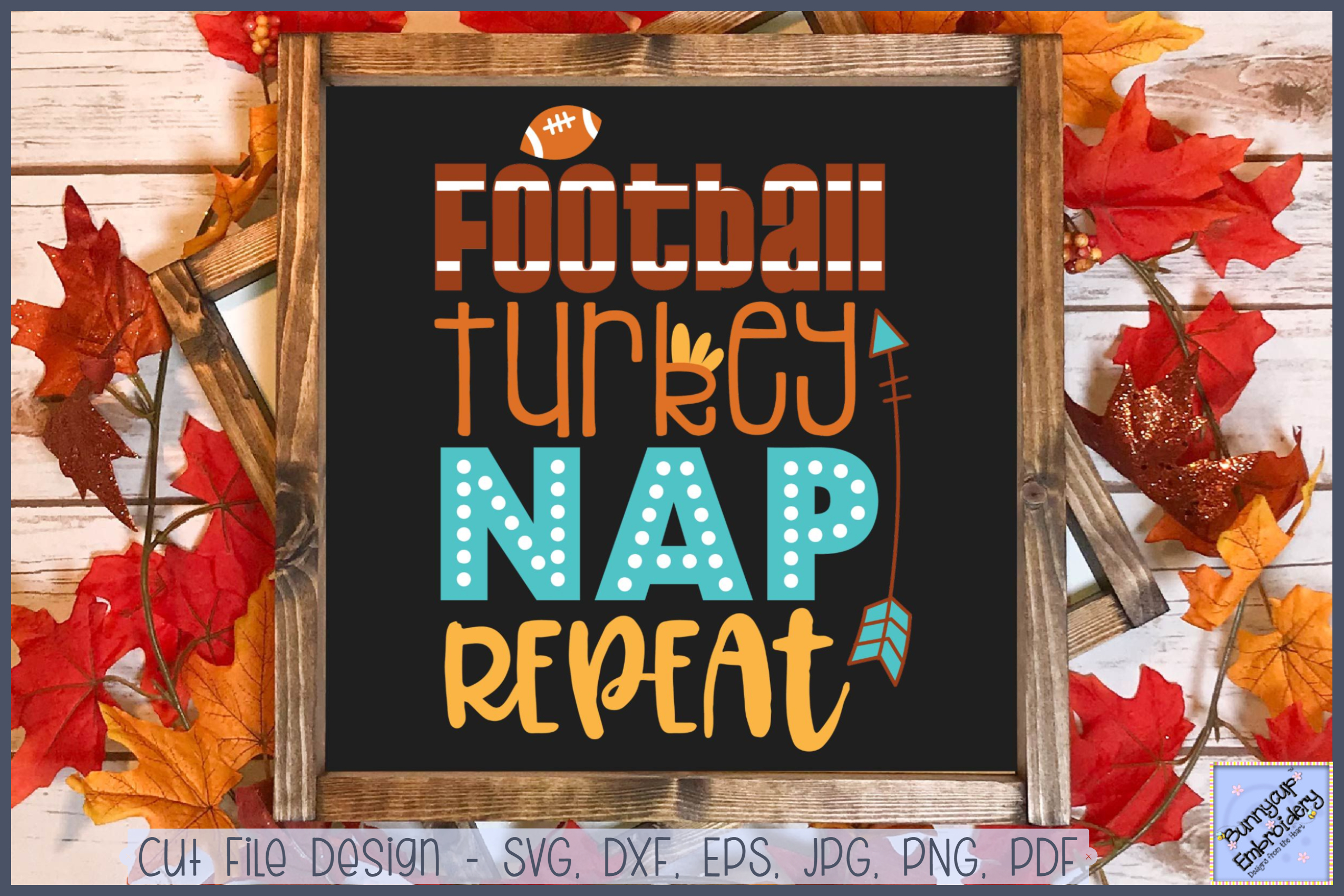 Football Turkey Nap Repeat - SVG, Clipart, Printable example image 1