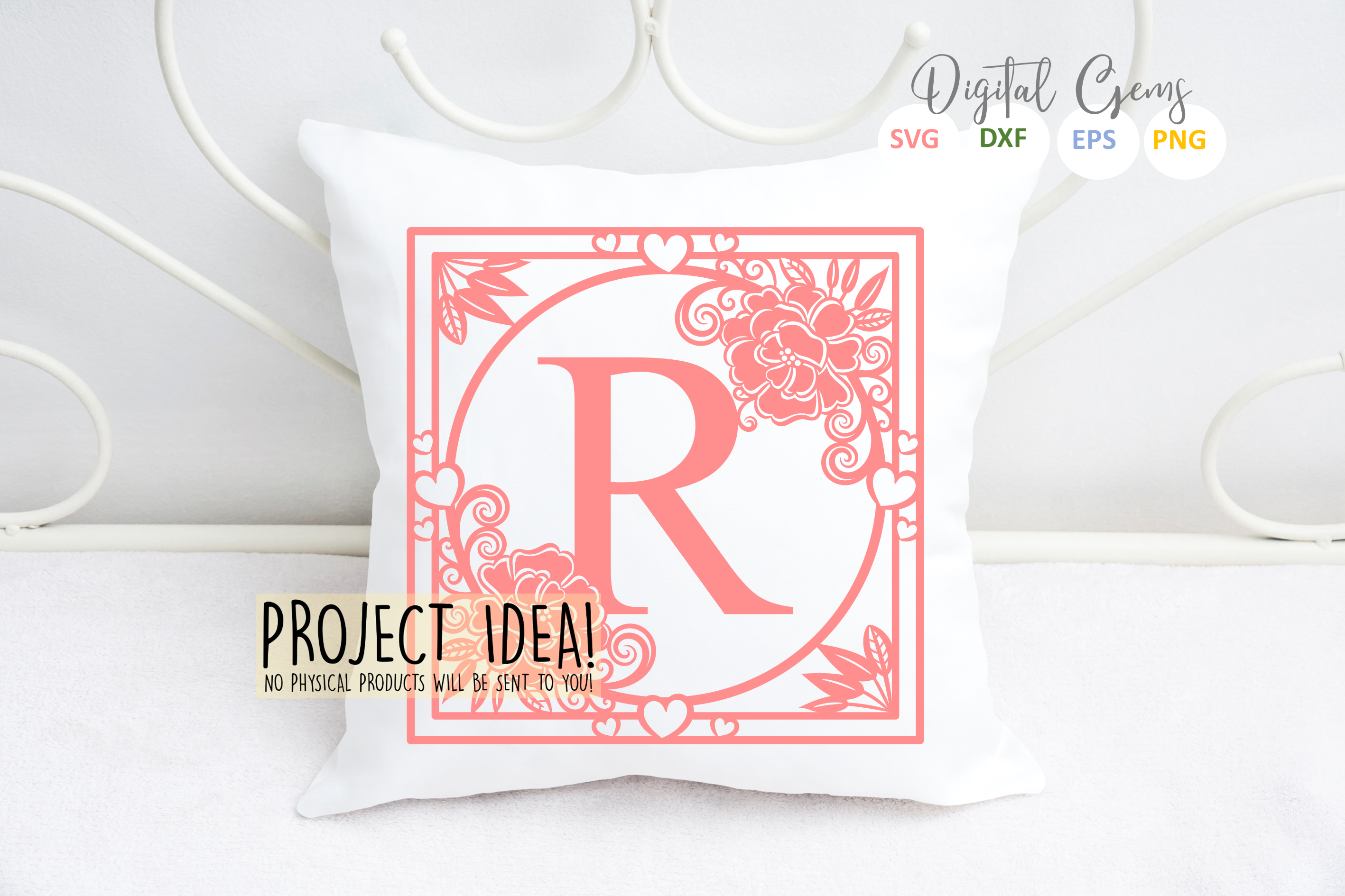 Letter R papercut design. SVG / DXF / EPS files example image 2