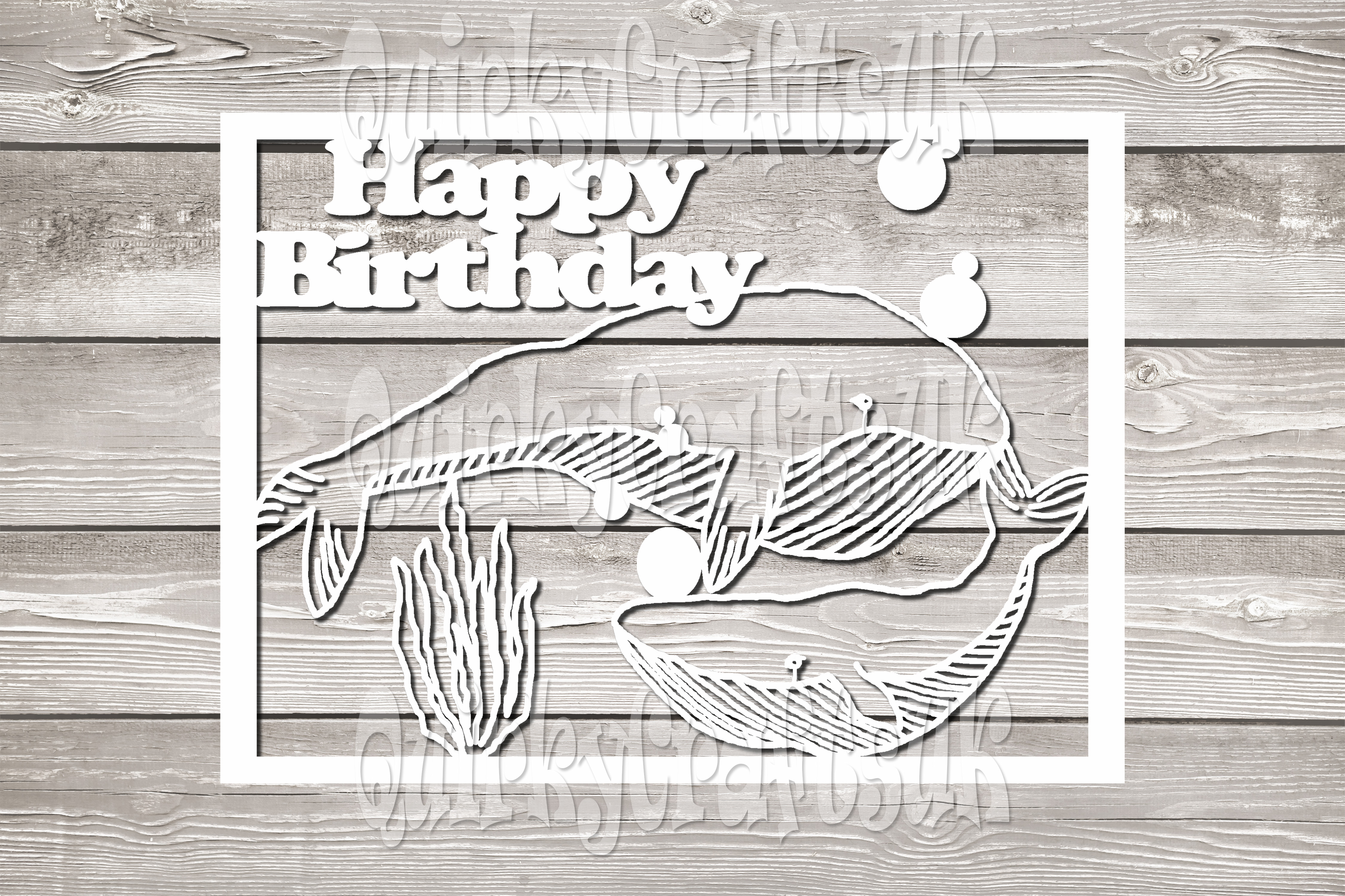 Happy birthday Whales/SON papercutting template example image 2