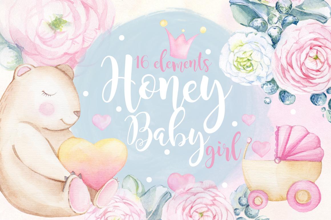 Watercolor set HONEY BABY GIRL example image 1