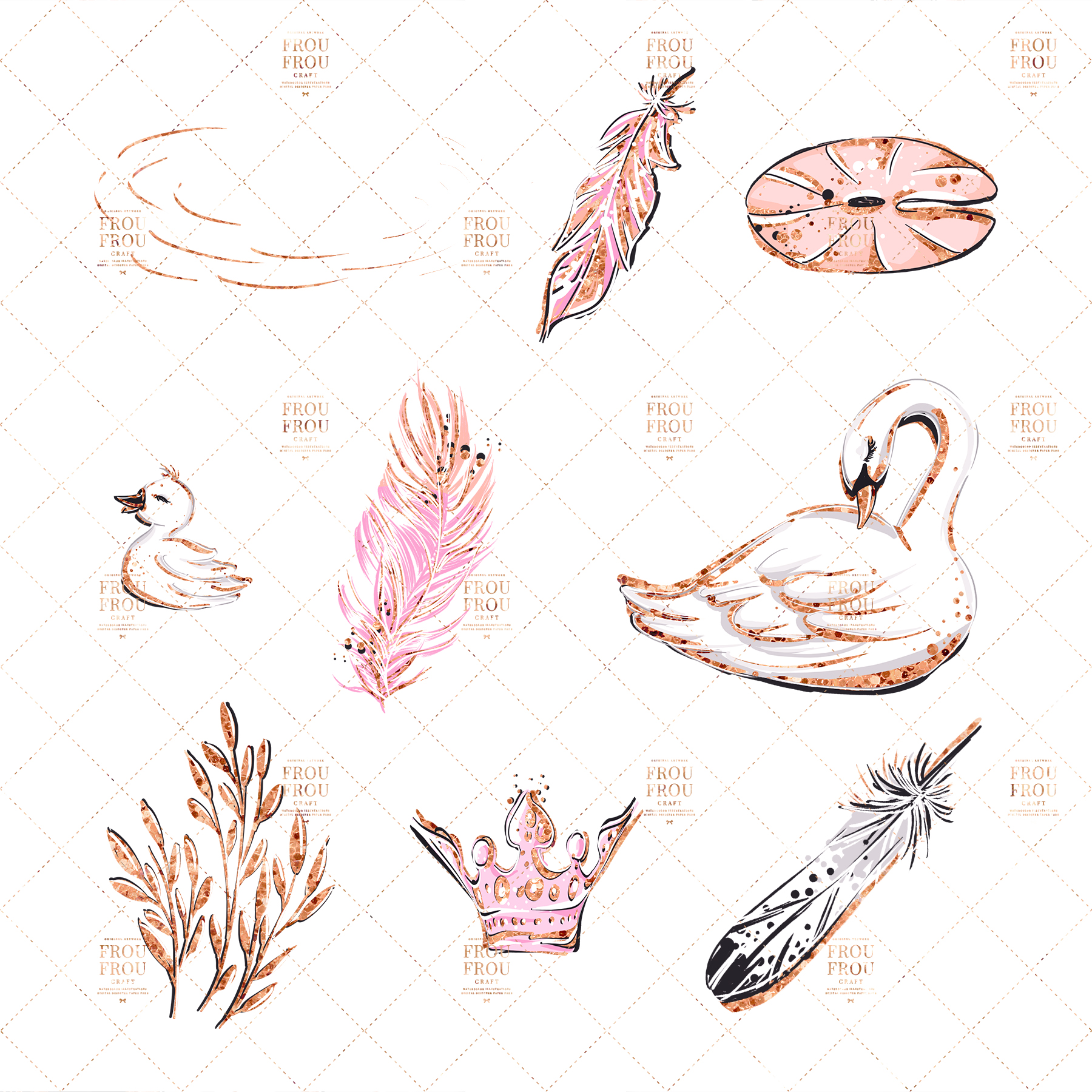 Swan Rose Gold Glitter Nursery Clip Art example image 8