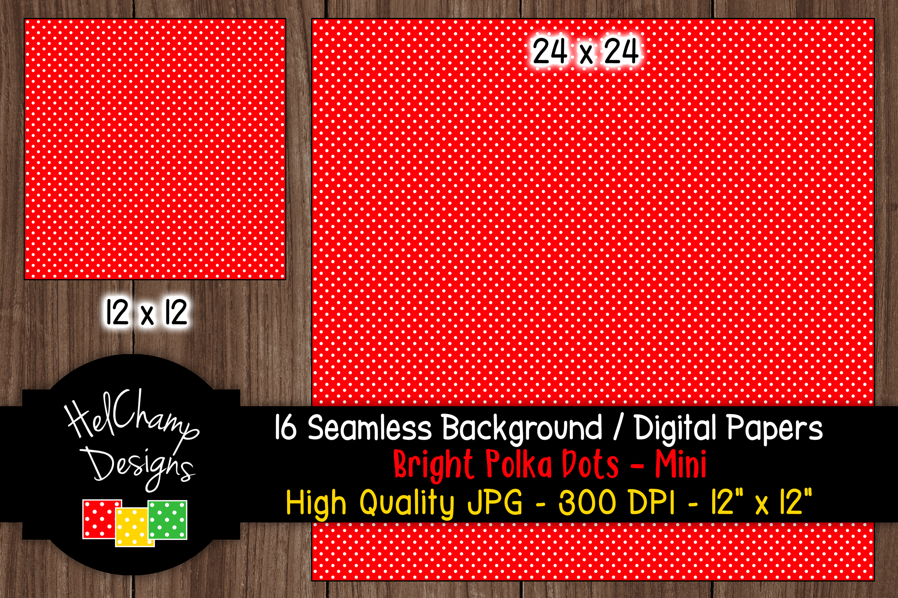 16 seamless Digital Papers - Bright Polka Dots Mini - HC017 example image 2