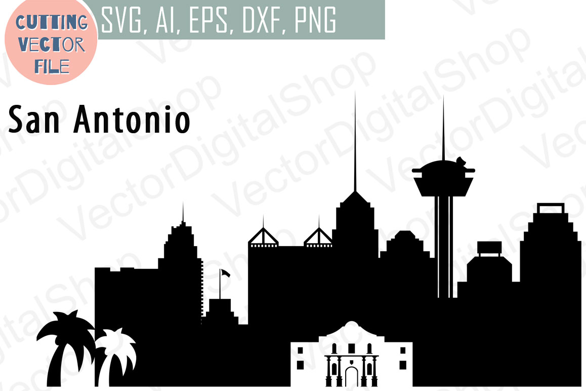 San Antonio Vector Texas Skyline Usa City Svg Jpg Png