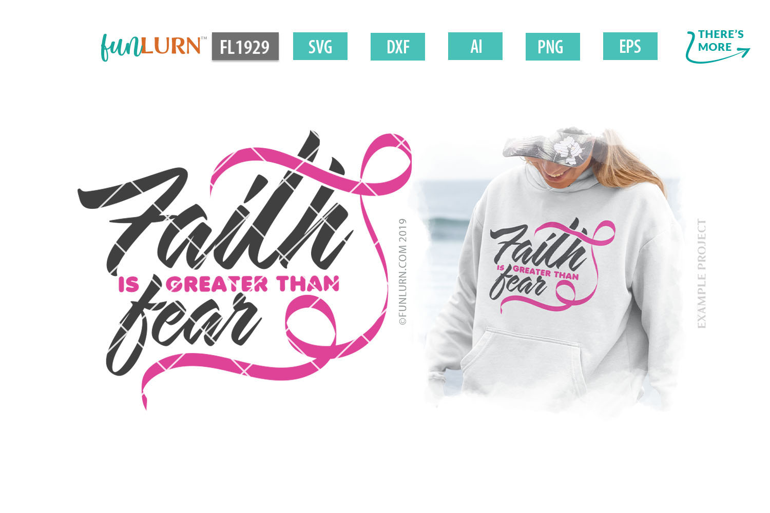 Faith is Greater Than Fear Pink Ribbon SVG Cut File example image 1
