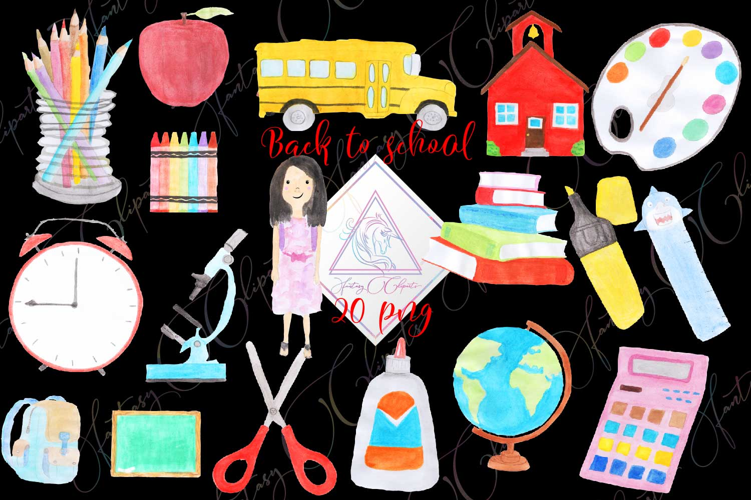 Watercolor Hand Drawn Back To School Clipart example image 1