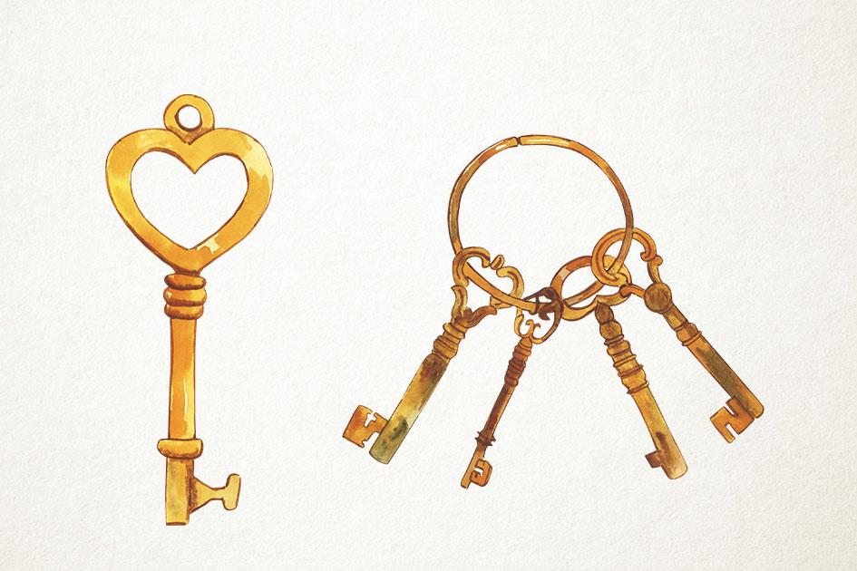 Watercolor Keys Clipart, Lock and Key, Vintage Key