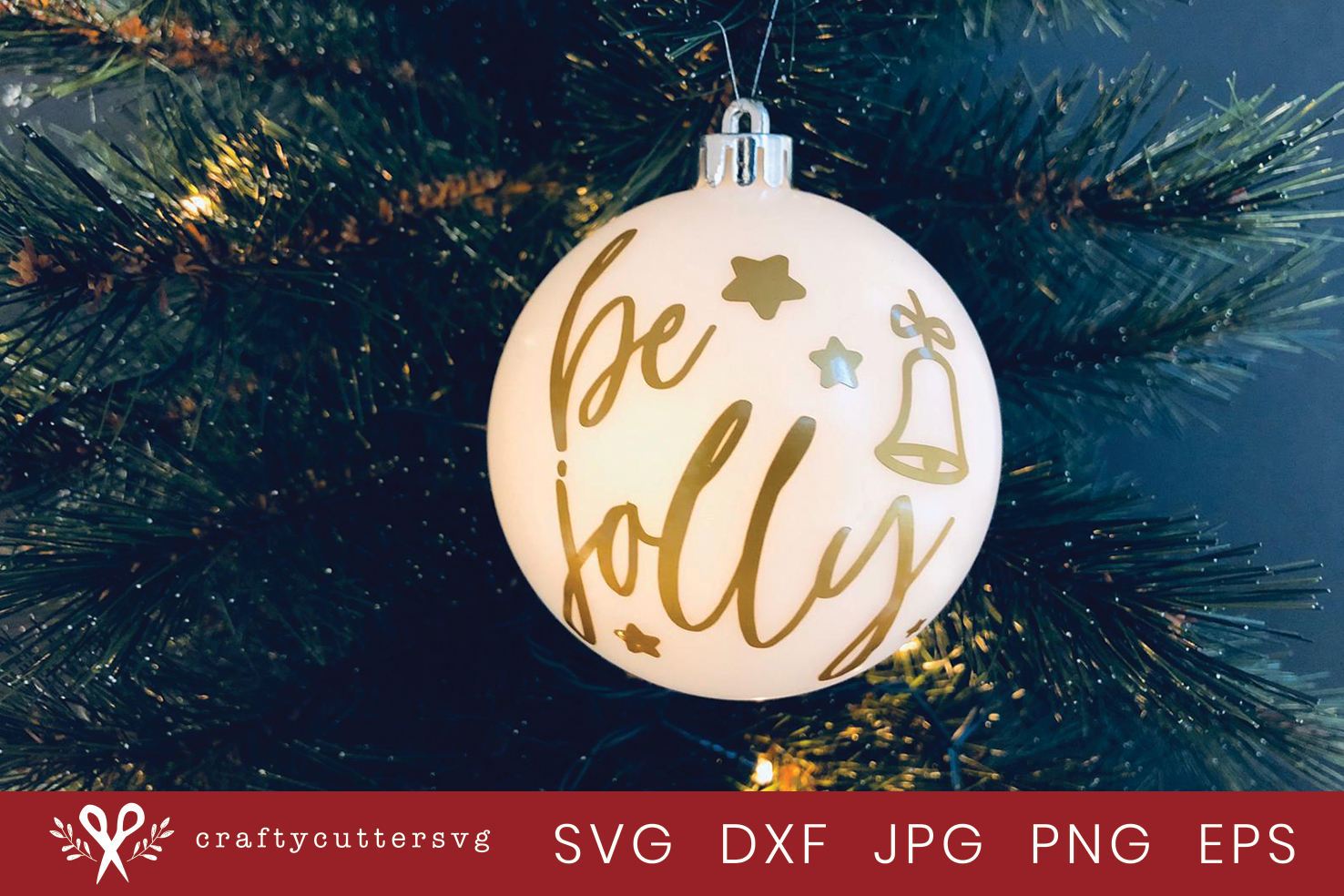 Christmas Ornament Be Jolly Svg Cut File Bell Clipart example image 2