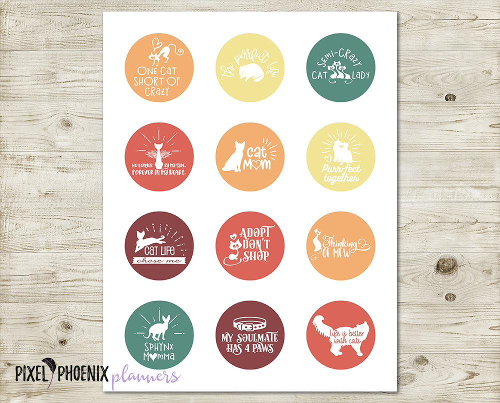 12 Cat Lover Stickers/ Cupcake Toppers example image 2