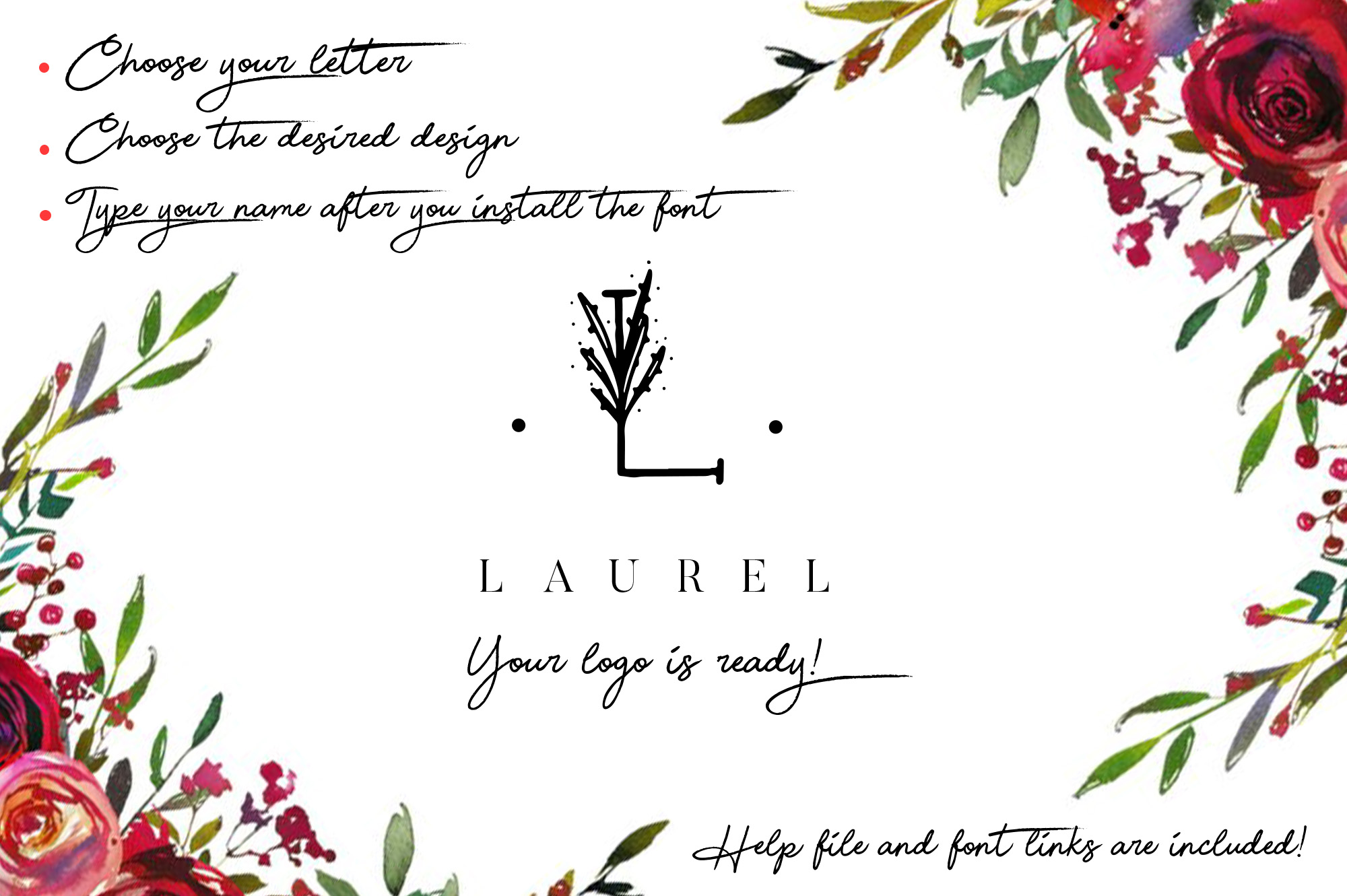 MINIMAL FLORAL LETTER AND LOGO KIT example image 4