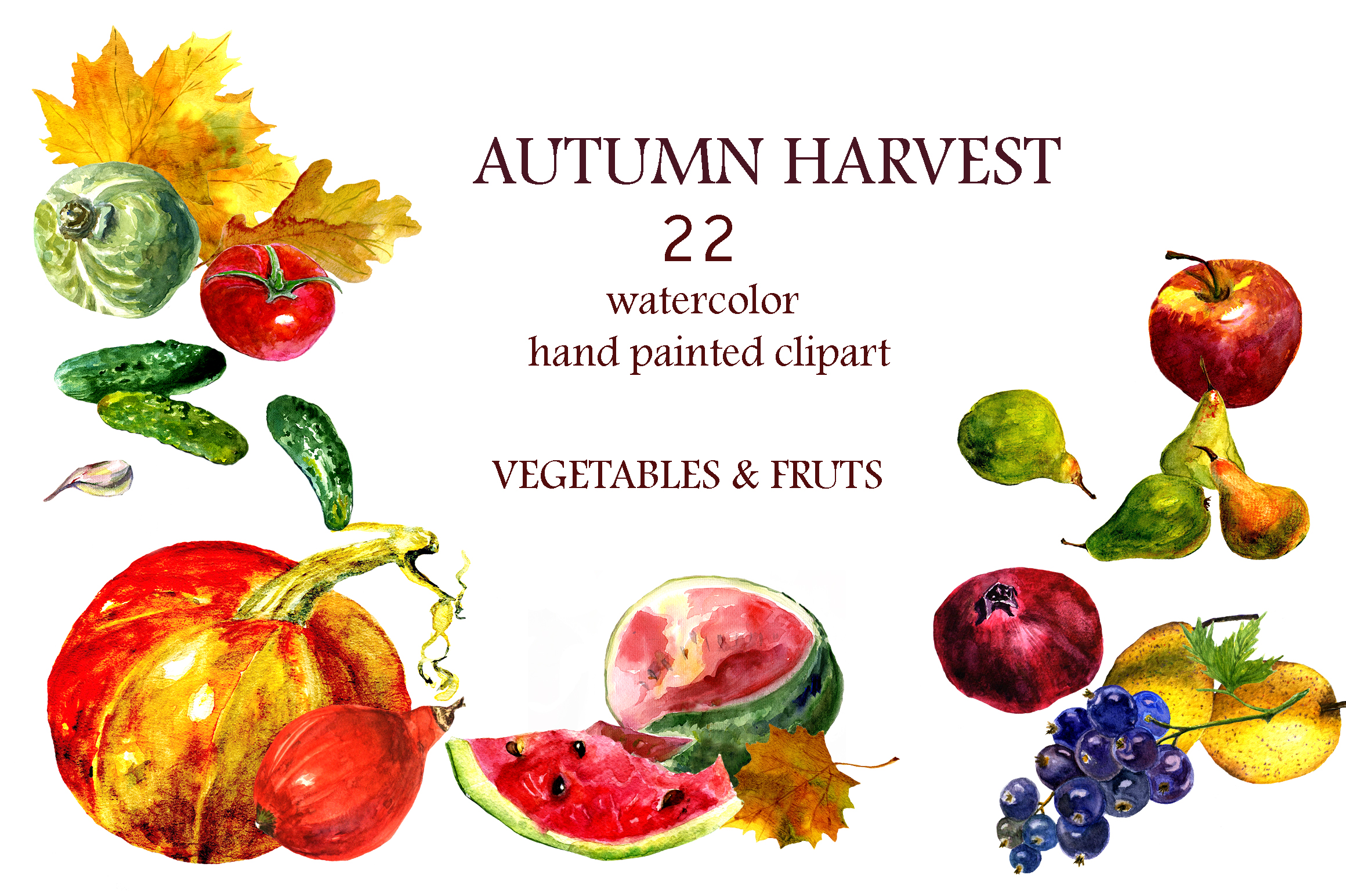 Watercolor collection Autumn Harvest example image 3