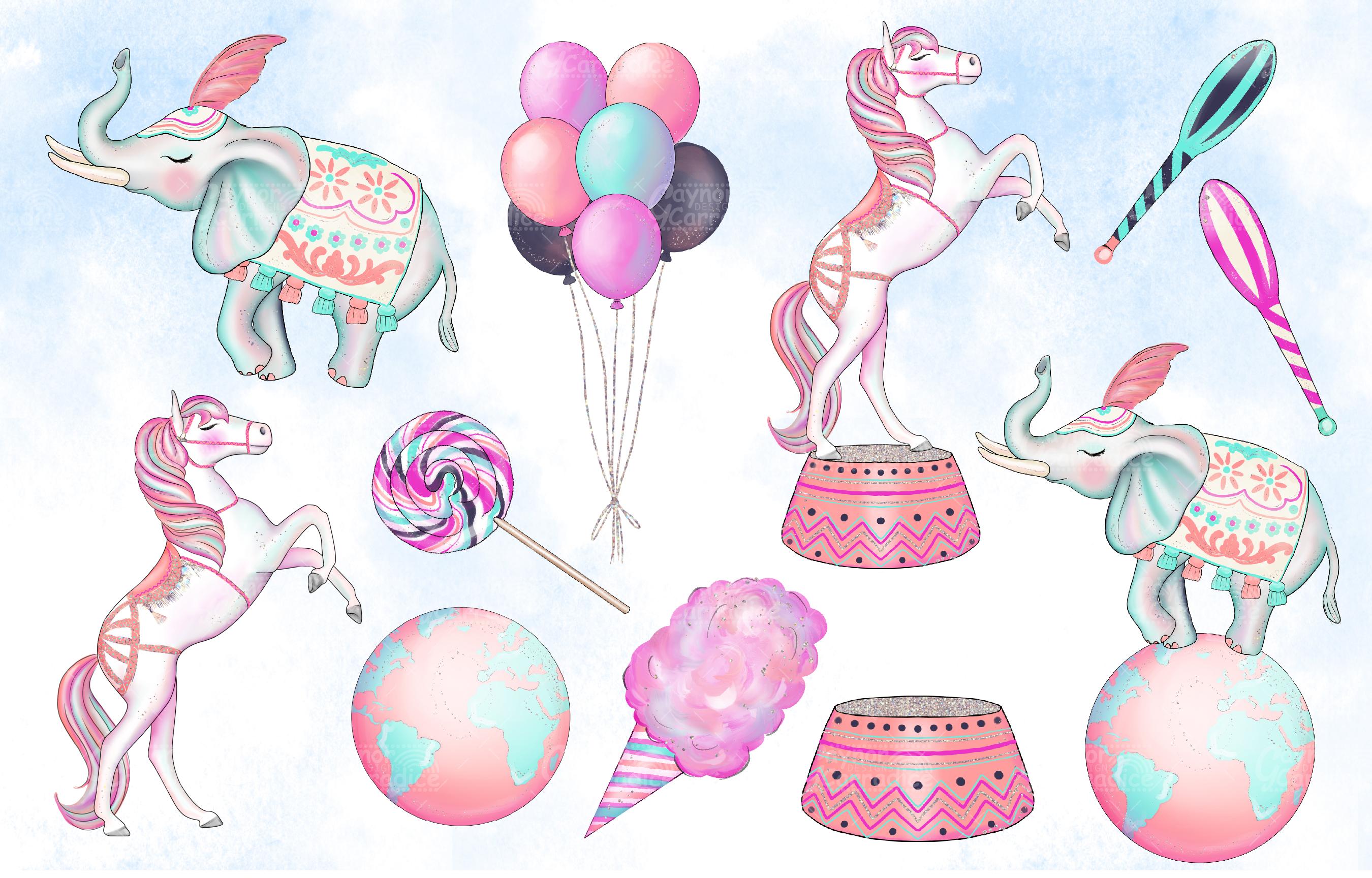 Cirque - watercolor circus Clipart collection example image 3