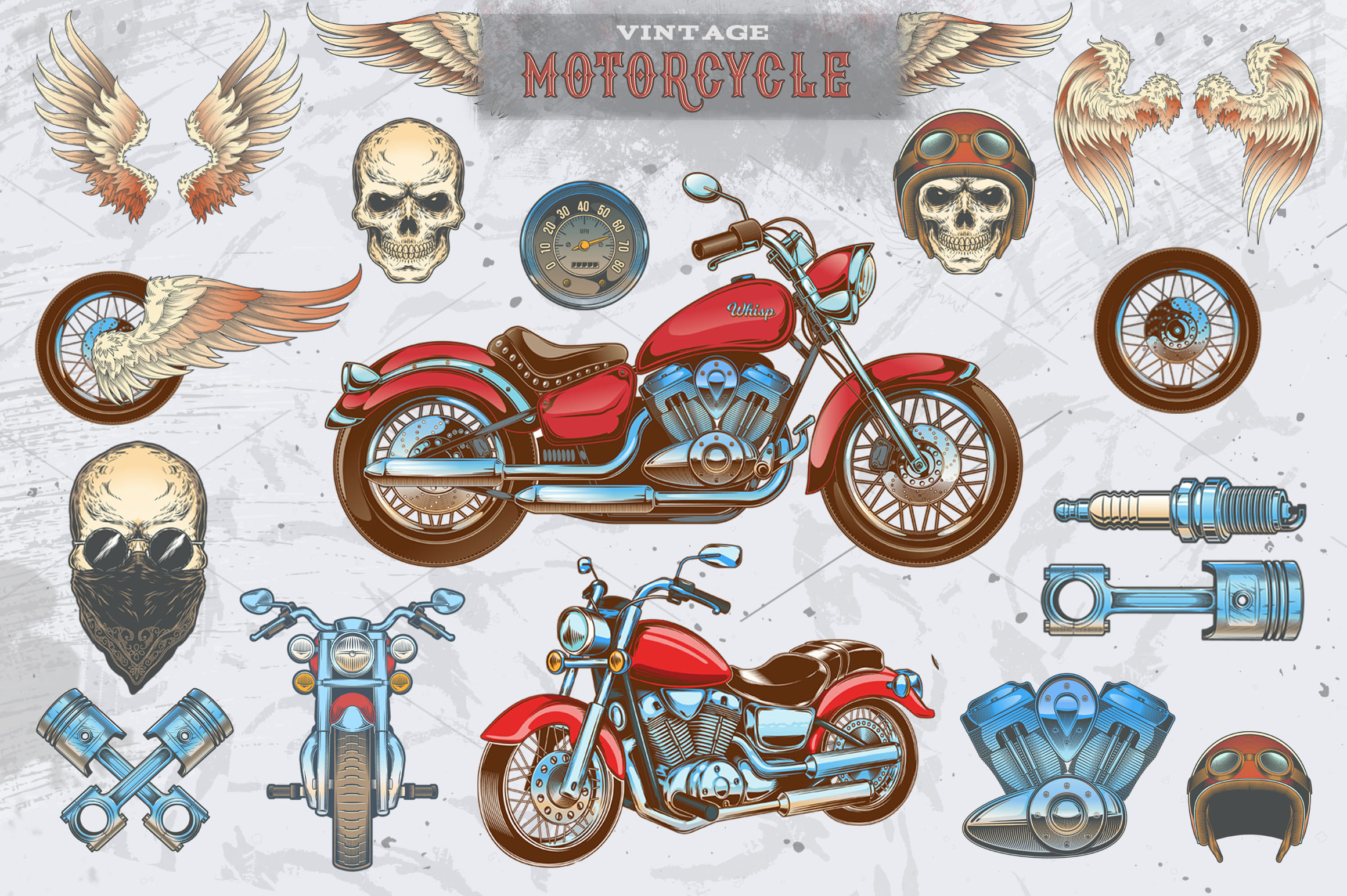 Vintage motorcycle, skulls and labels example image 4